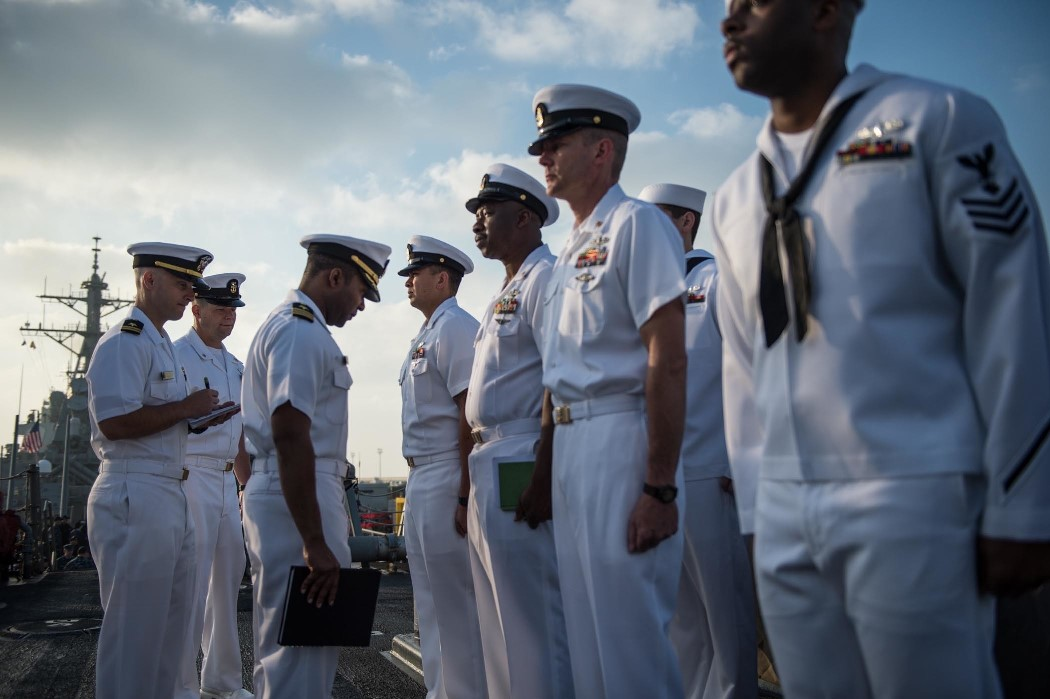 Executive department personnel aboard USS Donald Cook (DDG 75) conduct a uniform inspection March 16, 2015, in preparation for the upcoming summer uniform shift. Donald Cook, an Arleigh Burke-class guided-missile destroyer forward-deployed to Rota, Spain, is conducting naval operations in the U.S. 6th Fleet area of operations in support of U.S. national security interests in Europe. (U.S. Navy photo by Mass Communication Specialist 2nd Class Karolina A. Oseguera/Released)