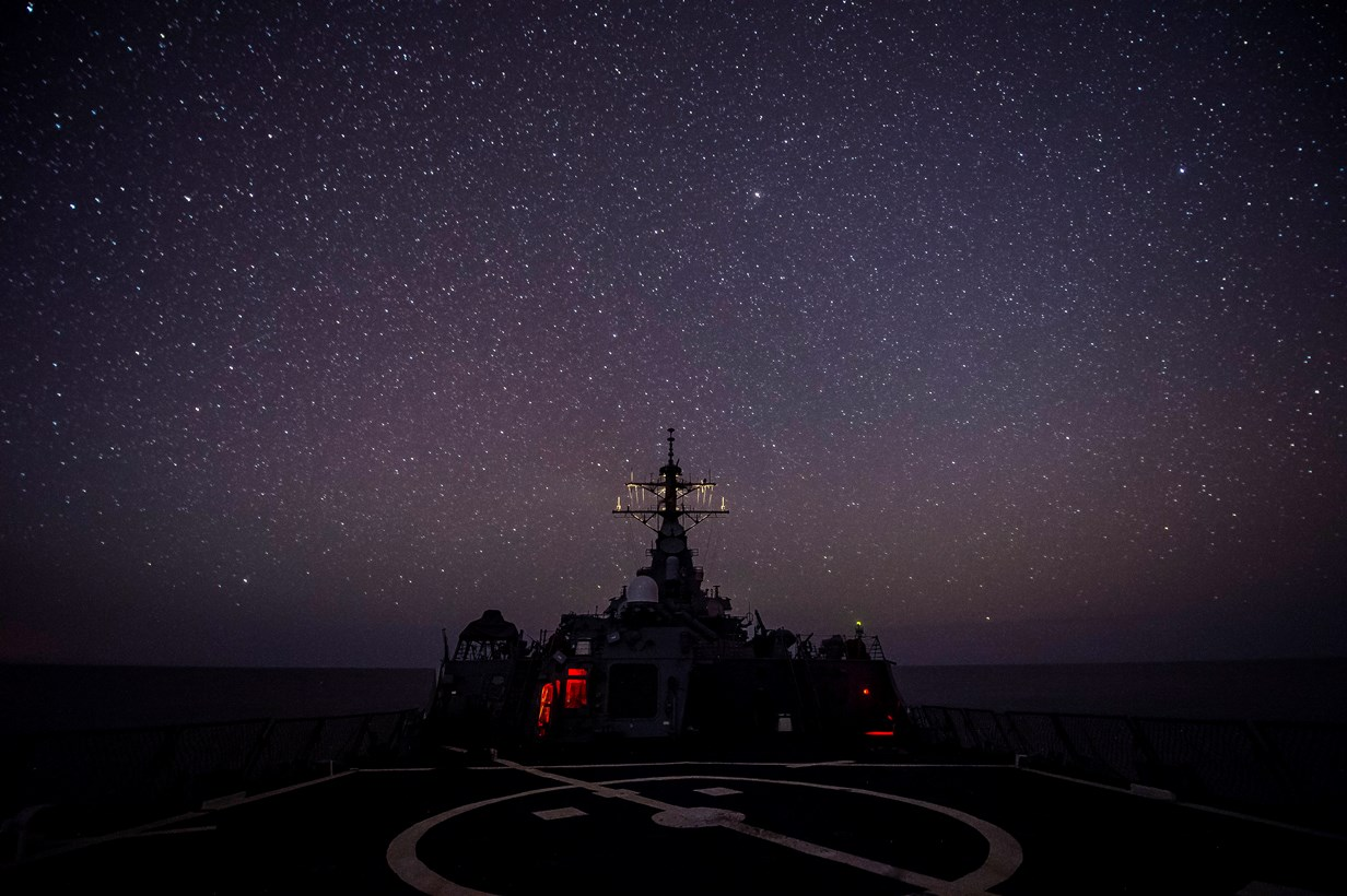 150508-N-FQ994-161 MEDITERRANEAN SEA (May 8, 2015) USS Ross (DDG 71) transits the Mediterranean Sea May 8, 2015. Ross, an Arleigh Burke-class guided-missile destroyer, forward-deployed to Rota, Spain, is conducting naval operations in the U.S. 6th Fleet area of operations in support of U.S. national security interests in Europe. (U.S. Navy photo by Mass Communication Specialist 3rd Class Robert S. Price/Released)