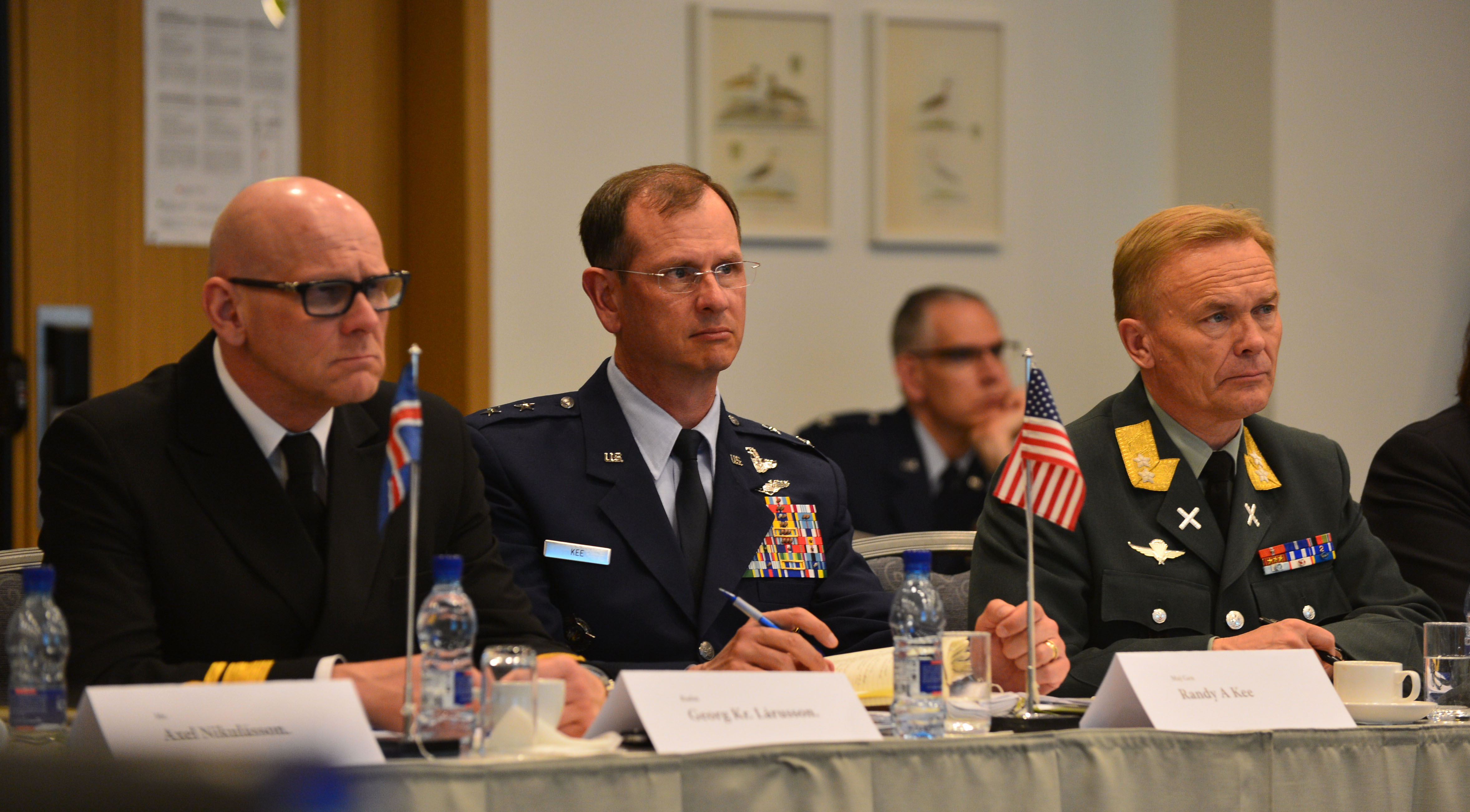Icelandic Coast Guard Rear Admiral Georg Lárusson, U.S. Air Force Maj. Gen. Randy Kee and Norwegian Army Maj. Gen. Odin Johannessen listen to a presentation during the Arctic Security Forces Roundtable, May 12, 2015 in Reykjavik, Iceland. Kee and Johannessen co-led the conference, while Lárusson led coordination of host nation support. Representatives from 11 nations across Europe and North America met for the ASFR in order to promote regional understanding and enhance multilateral security operations within the Arctic area.