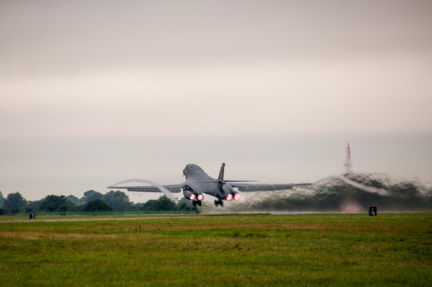 A B-1B Lancer from the 7th Bomb Wing, Dyess Air Base, Texas, Air Force Global Strike Command, takes to the skies on Sep. 5, 2016 as the first day of participation in Exercise Ample Strike 2016, an annual Czech Republic-led exercise with 300 participants from 18 countries scheduled for Sept. 5-16. (U.S. Air Force photo by 1st Lt. Monique Roux/Released)