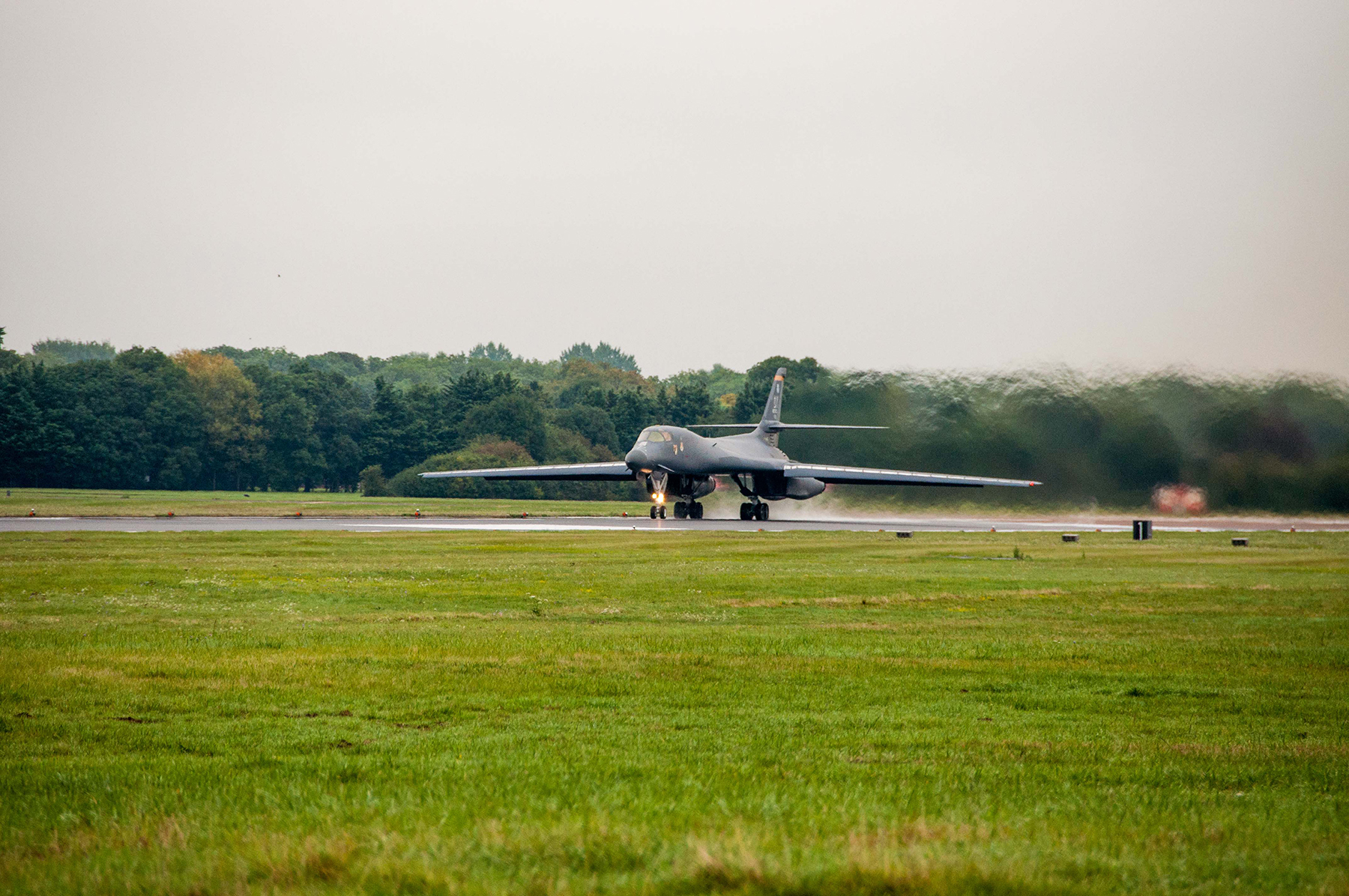 A B-1B Lancer from the 7th Bomb Wing, Dyess Air Base, Texas, Air Force Global Strike Command, taxis down the runway on Sep. 5, 2016 as the first day of participation in Exercise Ample Strike 2016, an annual Czech Republic-led exercise with 300 participants from 18 countries scheduled for Sept. 5-16. (U.S. Air Force photo by 1st Lt. Monique Roux/Released)