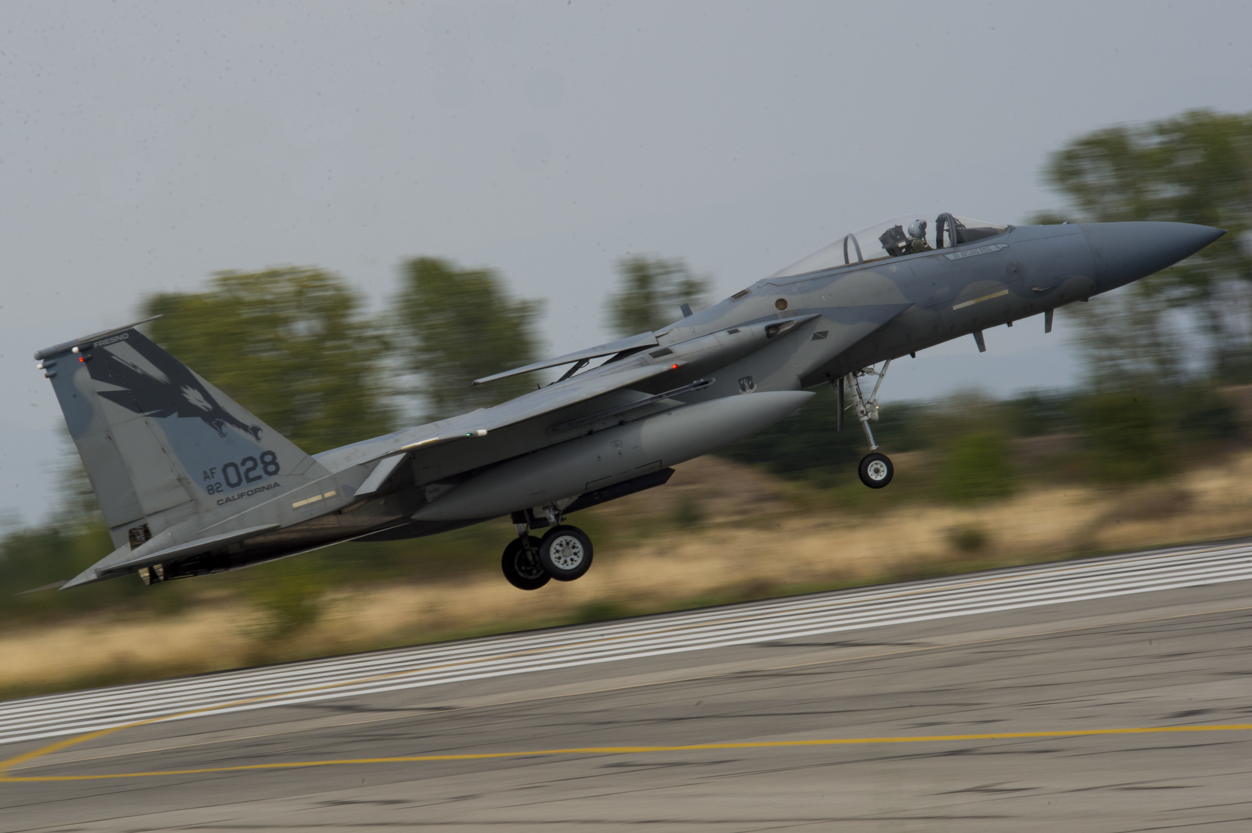 A California Air National Guard F-15C Eagle lands on the flightline at Graf Ignatievo, Bulgaria, Sept. 8, 2016. Four of the 194th Expeditionary Fighter Squadron's F-15Cs will conduct joint NATO air policing missions with the Bulgarian air force to police the host nation's sovereign airspace Sept. 9-16, 2016. The squadron forward deployed to Graf Ignatievo from Campia Turzii, Romania, where they serve on a theater security package deployment to Europe as a part of Operation Atlantic Resolve. (U.S. Air Force photo by Staff Sgt. Joe W. McFadden)