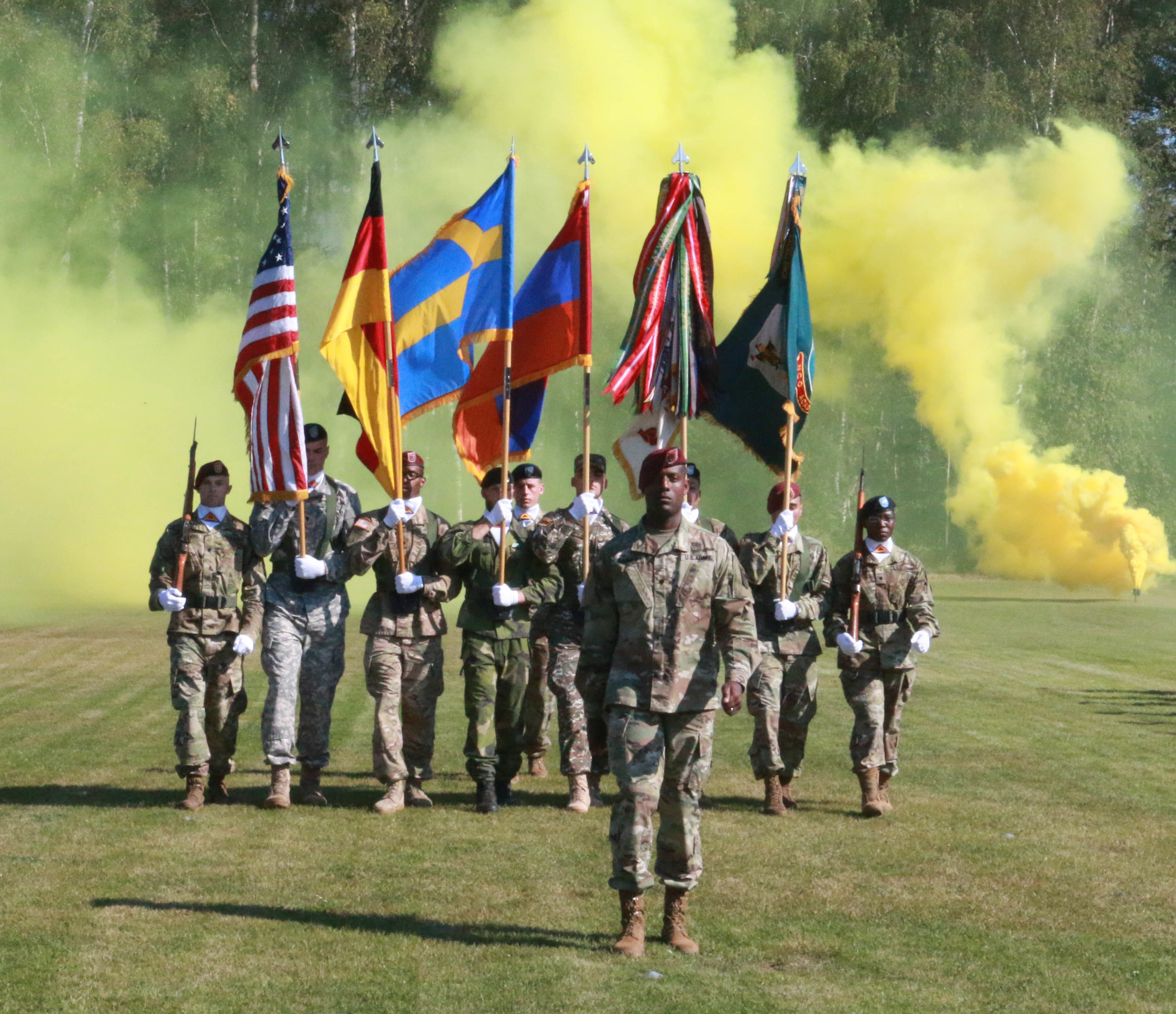 GRAFENWOEHR, Germany (September 14, 2016) – The students from the Basic Leader's Course at the 7th Army Training Command's Noncommissioned Officer Academy graduate Sept. 8 at the academy's graduation field here. Class 008-16 was the first class to graduate international service members from the Swedish and the Armenian Armed Forces.