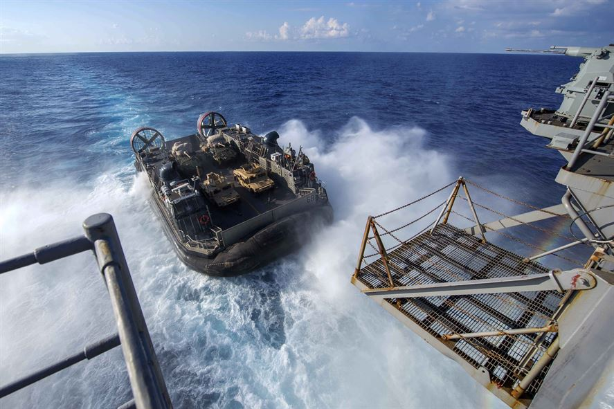 An air-cushion landing craft debarks the amphibious assault ship USS Wasp for drills in the Mediterranean Sea, Aug. 25, 2016. The Wasp is supporting maritime security operations and theater security cooperation efforts in the U.S. 6th Fleet area of operations. Navy photo by Petty Officer 2nd Class Nathan Wilkes