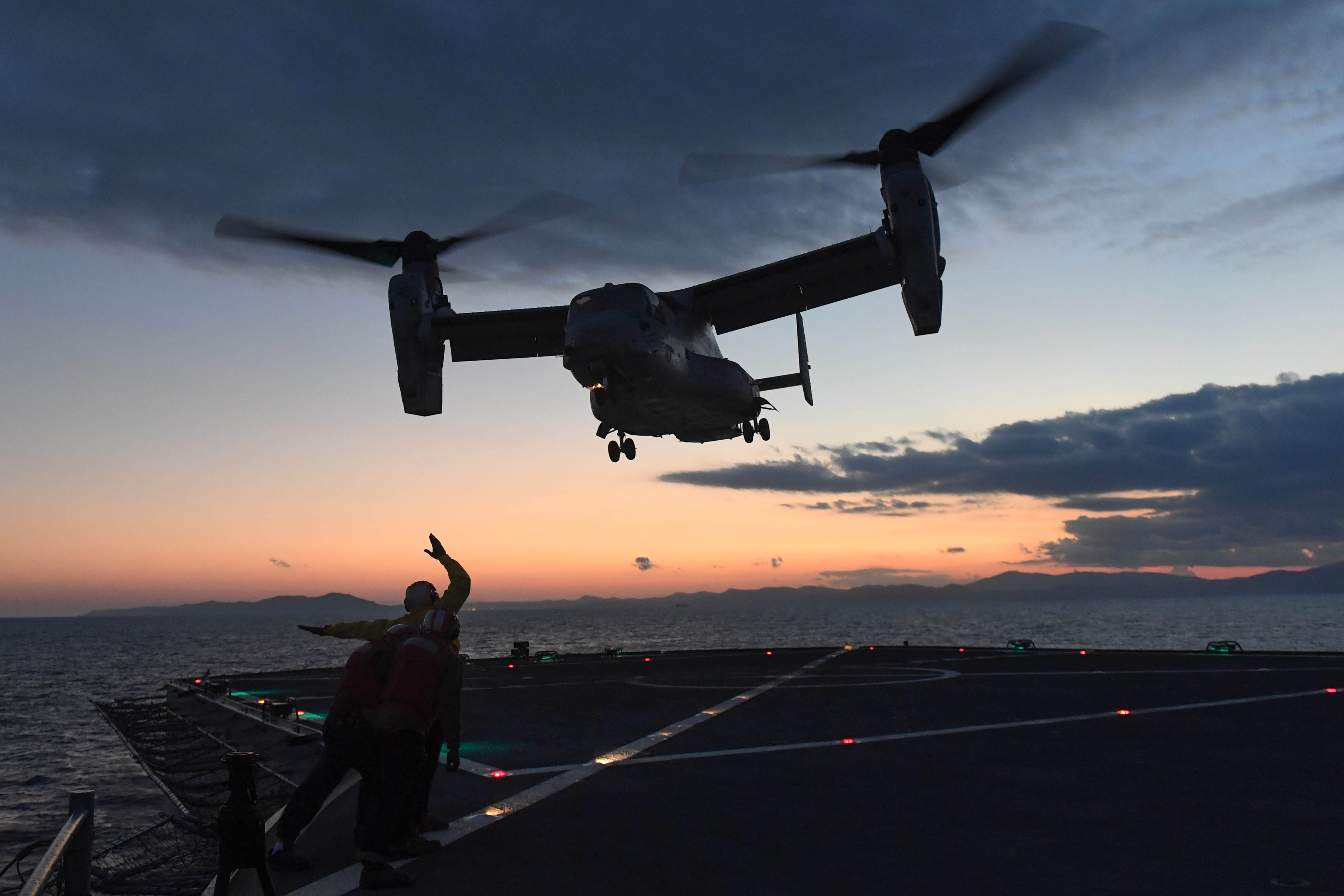 161009-N-JI086-297 - MEDITERRANEAN SEA (Oct. 9, 2016) Military Sealift Command sailors standby during a refueling of an MV-22B Osprey tiltrotor aircraft aboard the U.S. 6th Fleet command and control ship USS Mount Whitney (LCC 20) Oct. 9, 2016. Mount Whitney is underway conducting naval operations in the U.S. 6th Fleet area of operations to engage with key allies and partners in the region. (U.S. Navy photo by Seaman Ford Williams / Released)