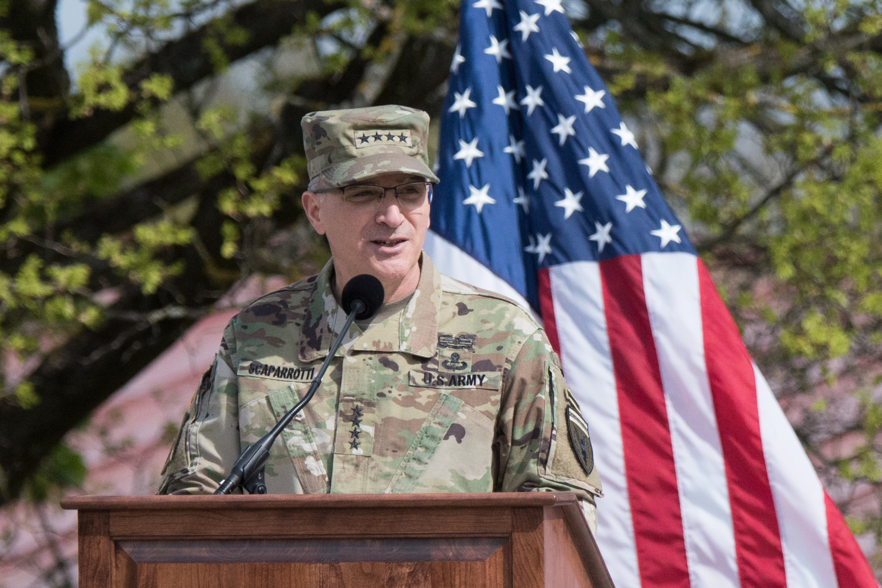 U.S. European Command commander Gen. Curtis M. Scaparrotti addresses the audience during the EUCOM change of command ceremony n Stuttgart, Germany, Tuesday, May 3, 2016.  (DoD photo by D. Myles Cullen/Released)