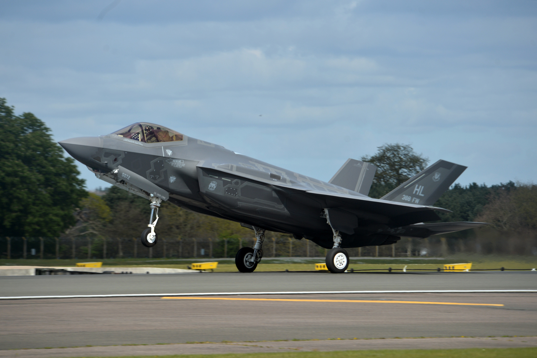 An F-35A Lightning II from the 34th Fighter Squadron at Hill Air Force Base, Utah, lands at Royal Air Force Lakenheath, England, April 15, 2017. The aircraft arrival marks the first F-35A fighter training deployment  to the U.S. European Command area of responsibility or any overseas location as a flying training deployment. (U.S. Air Force photo/Master Sgt. Eric Burks)