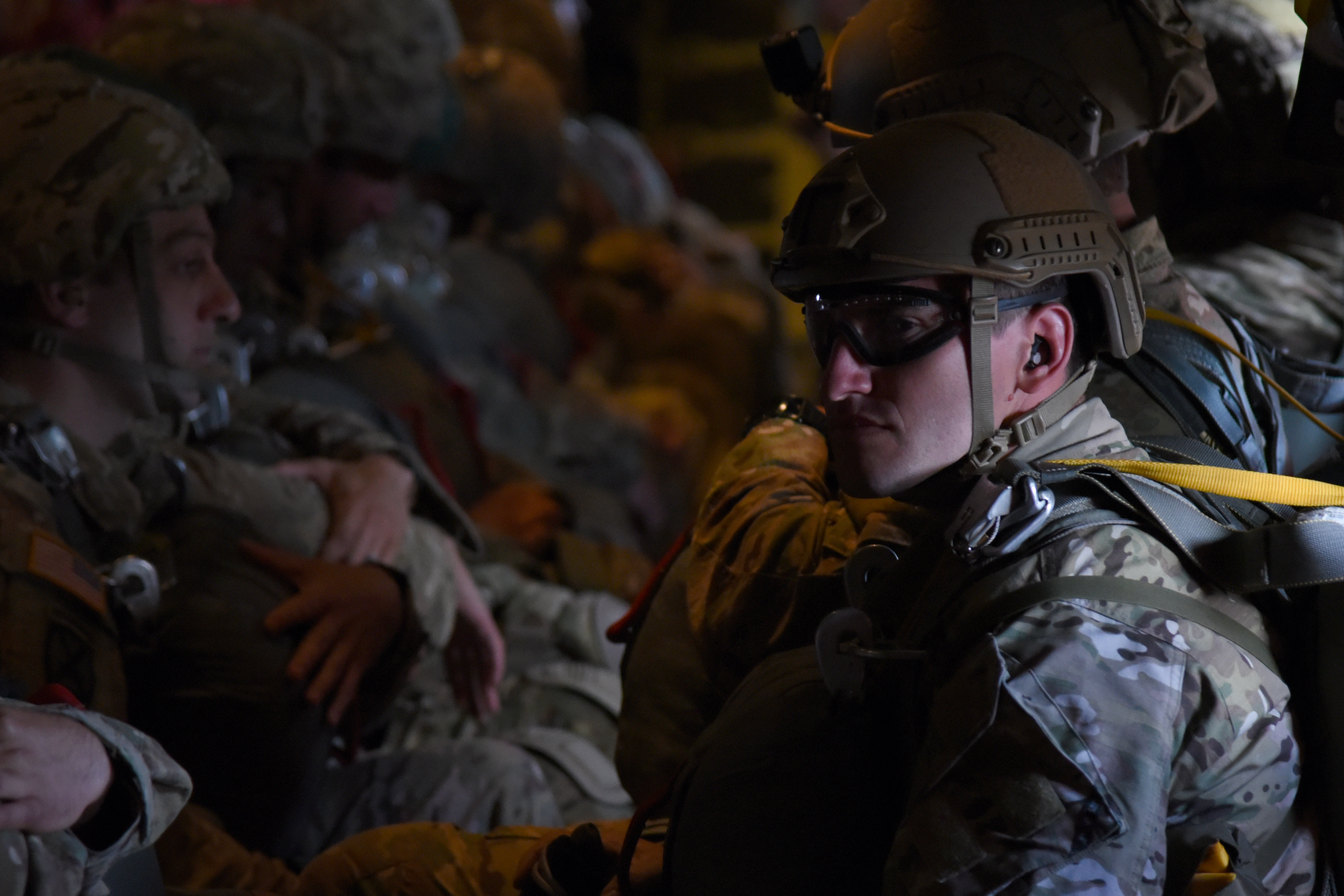 Paratroopers await their jump from an 815th Airlift Squadron C-130J over Normandy, France. This event commemorates the 73rd anniversary of D-Day, the largest multi-national amphibious landing and operational military airdrop in history, and highlights the U.S.' steadfast commitment to European allies and partners. Overall, approximately 400 U.S. service members from units in Europe and the U.S. are participating in ceremonial D-Day events from May 31 to June 7, 2017(U.S. Air Force photo by Staff Sgt. Nicholas Monteleone)