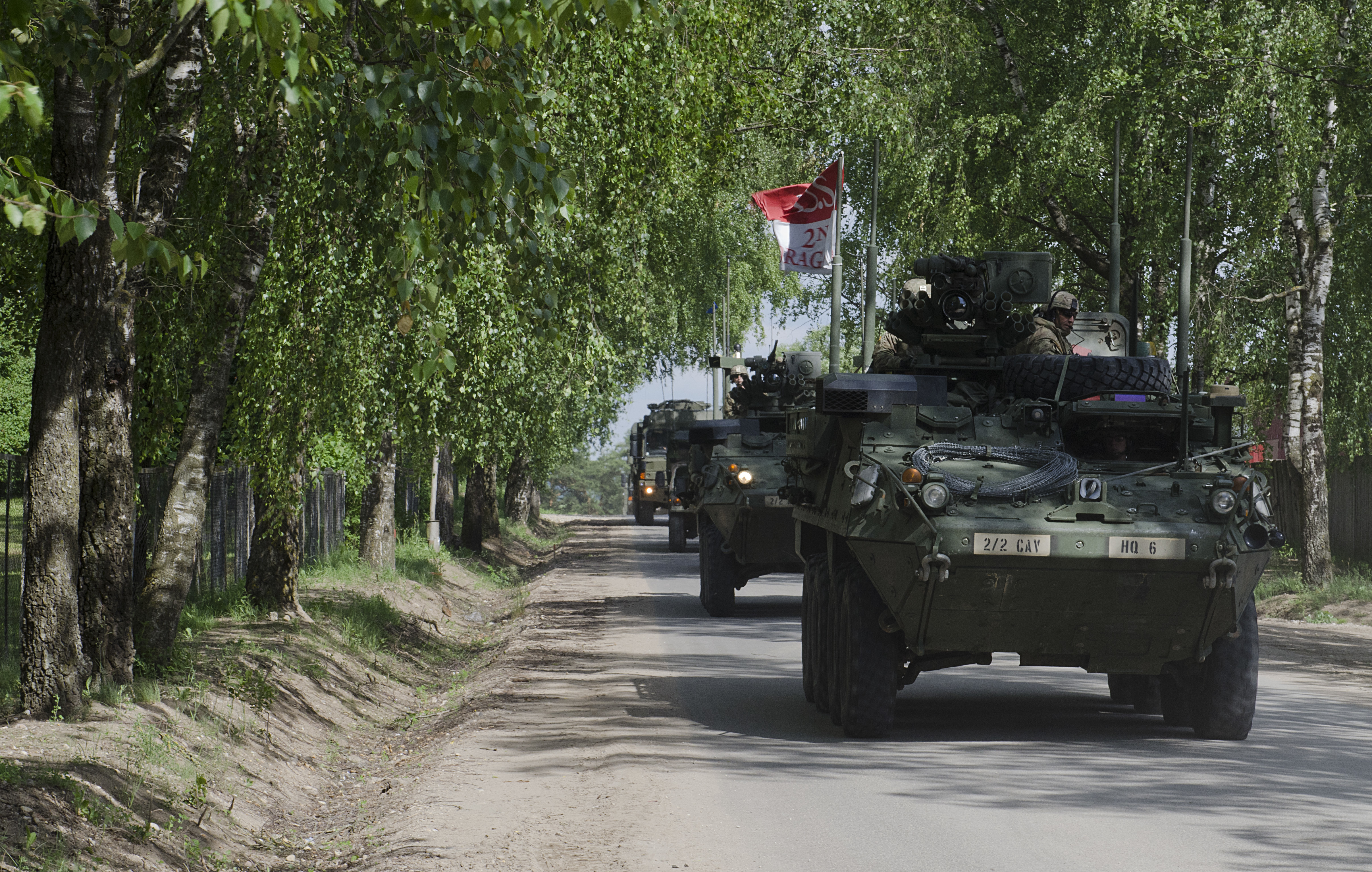 U.S. Strykers with Enhanced Forward Presence Battle Group Poland arrived to Rukla, Lithuania after a two-day tactical road march across Eastern Europe, June 18, 2017, as part of Saber Strike 17. The Poland-based Battle Group conducted the convoy portion of the Field Training Exercise to demonstrate their ability to execute a forward passage of lines across the only land connection between the Baltic States of Estonia, Latvia and Lithuania, which is known as the Suwalki Gap. (U.S. Army photo by Sgt. Justin Geiger)
