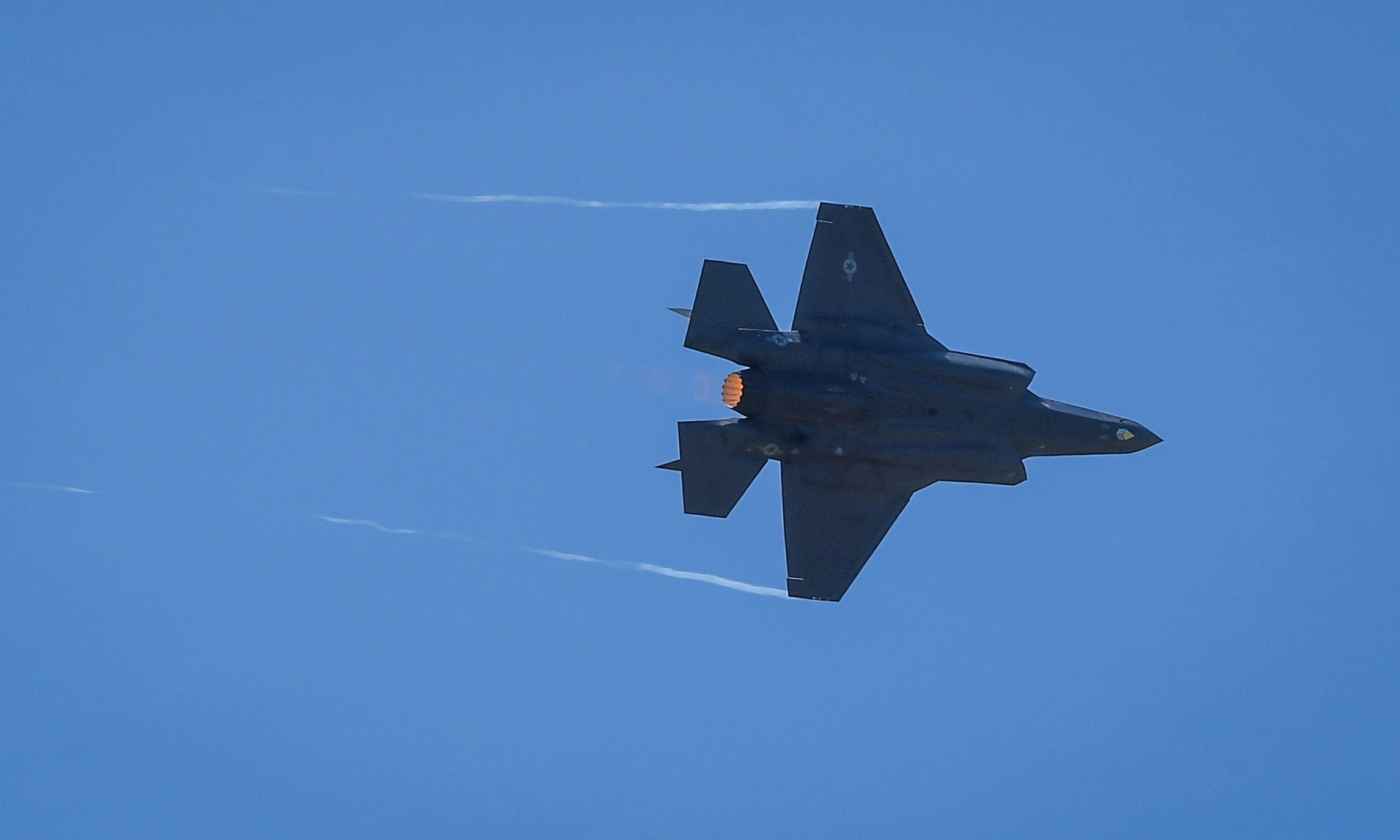 An F-35A Lightning II from Hill Air Force Base, Utah, performs a flight demonstration for an audience at the Paris Air Show June 19, 2017 at Le Bourget, France. Held every year, the Paris Air Show represents a unique opportunity for the United States to showcase its leadership in aerospace technologies. Direct participation in the air show supports U.S. government security policy and strategic defense objectives. (U.S. Air Force photo/ Tech. Sgt. Ryan Crane)