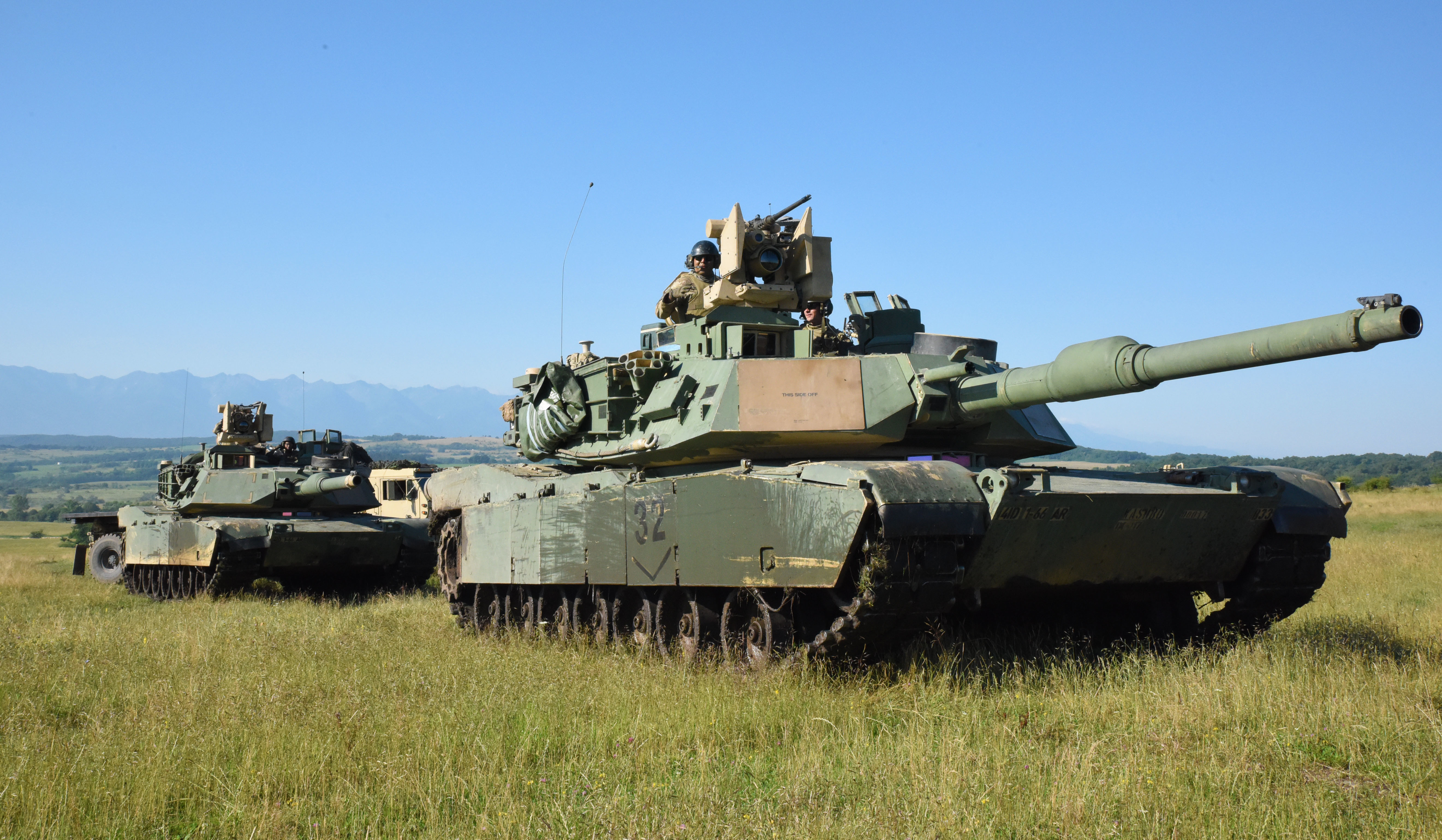 CINCU, Romania - U.S. Army Soldiers of 1st battalion, 66th armored regiment, 3rd Armored Brigade Combat Team set up their M1 Abram Tanks during Getica Saber 17, July 10, 2017. Getica Saber 17 is a U.S-led fire support coordination exercise and combined arms live fire exercise that incorporates six Allied and partner nations with more than 4,000 Soldiers. Getica Saber 17 runs concurrent with Saber Guardian 17, a U.S. Army Europe-led, multinational exercise that spans across Bulgaria, Hungary and Romania with more than 25,000 service members from 22 Allied and partner nations.