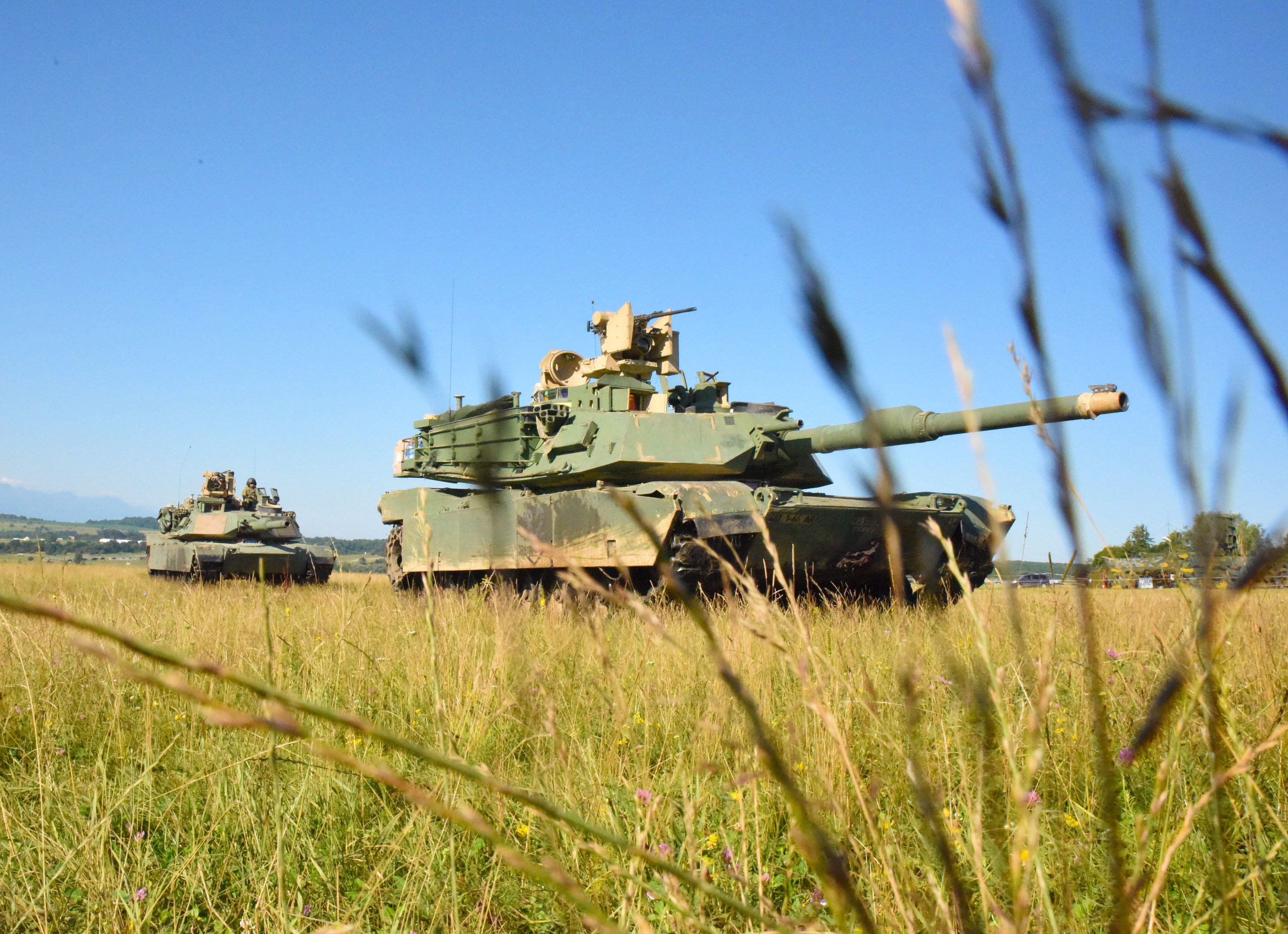 CINCU, Romania - U.S. Army Soldiers of 1st battalion, 66th armored regiment, 3rdArmored Brigade Combat Team setup their M1 Abram Tanks during Getica Saber 17, July 10, 2017. Getica Saber 17 is a U.S-led fire support coordination exercise and combined arms live fire exercise that incorporates six Allied and partner nations with more than 4,000 Soldiers. Getica Saber 17 runs concurrent with Saber Guardian 17, a U.S. Army Europe-led, multinational exercise that spans across Bulgaria, Hungary and Romania with more than 25,000 service members from 22 Allied and partner nations.