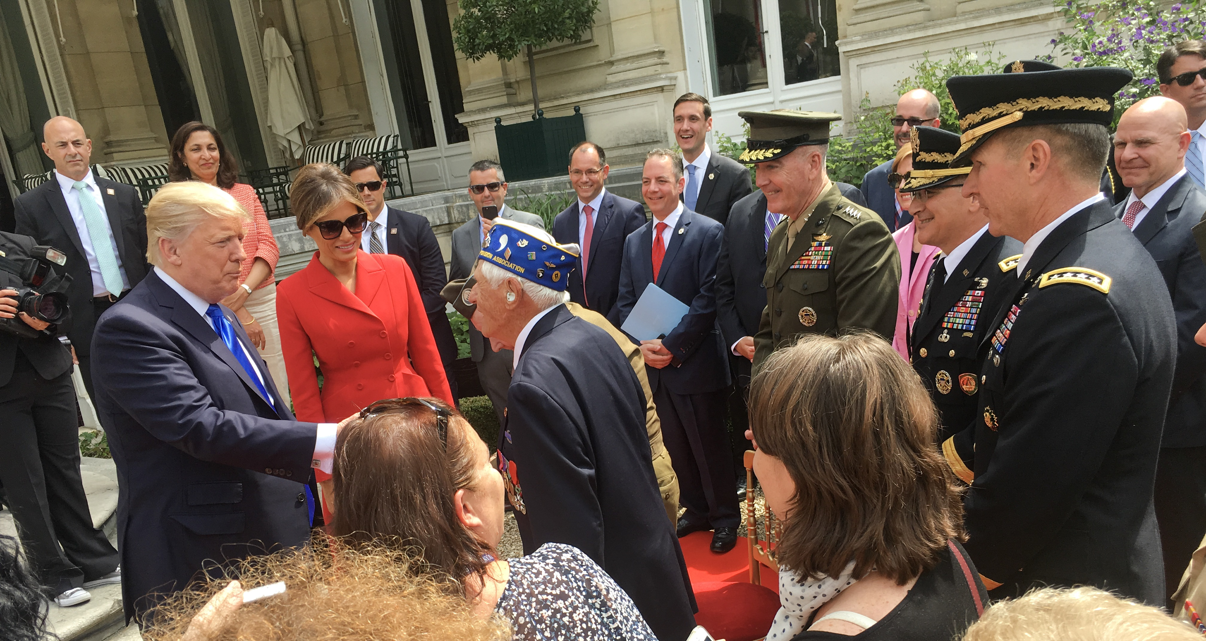 President Trump visits the U.S. Embassy in Paris, France for a meet and greet with staff and service members from U.S. European Command followed by a working lunch with senior members of his delegation and U.S. Military leaders participating in the Bastille Day festivities July 13, 2017. A historic first, nearly 200 American service members will lead the Military Parade on Bastille Day, July 14, 2017, along the famous Champs-Elysées in Paris in commemoration of the U.S. entry into WWI. The French government traditionally invites a country of honor to lead the parade, which is linked to a historical event and highlights a symbolic gesture of friendship.