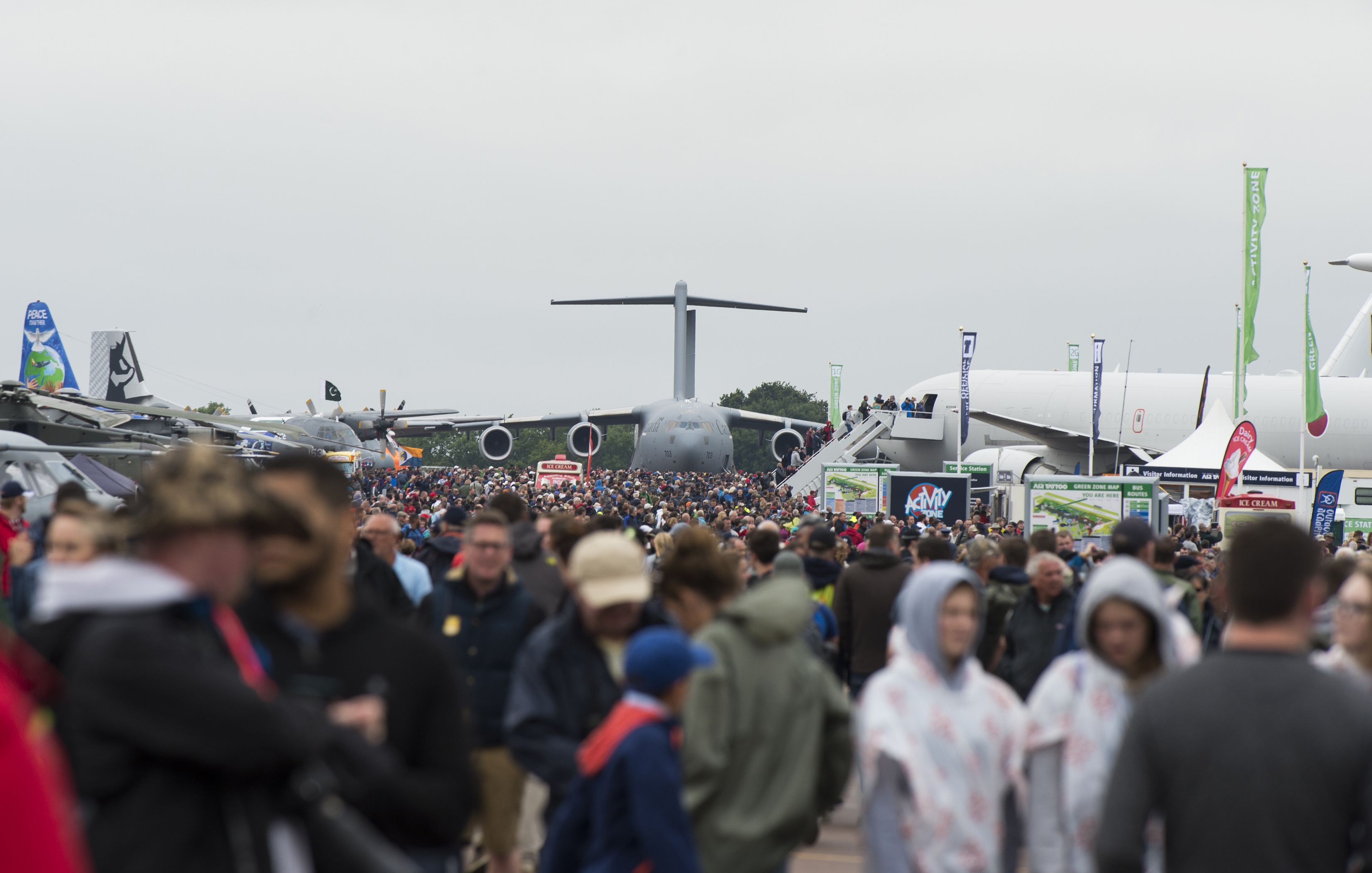 FAIRFORD, United Kingdom – Spectators visit the 2017 Royal International Air Tattoo (RIAT) located at RAF Fairford, United Kingdom, on July 15, 2017. This year commemorates the U.S. Air Force's 70th Anniversary which was highlighted during RIAT by displaying its lineage and advancements in military aircraft. (U.S. Air Force Photo by Tech. Sgt. Brian Kimball)