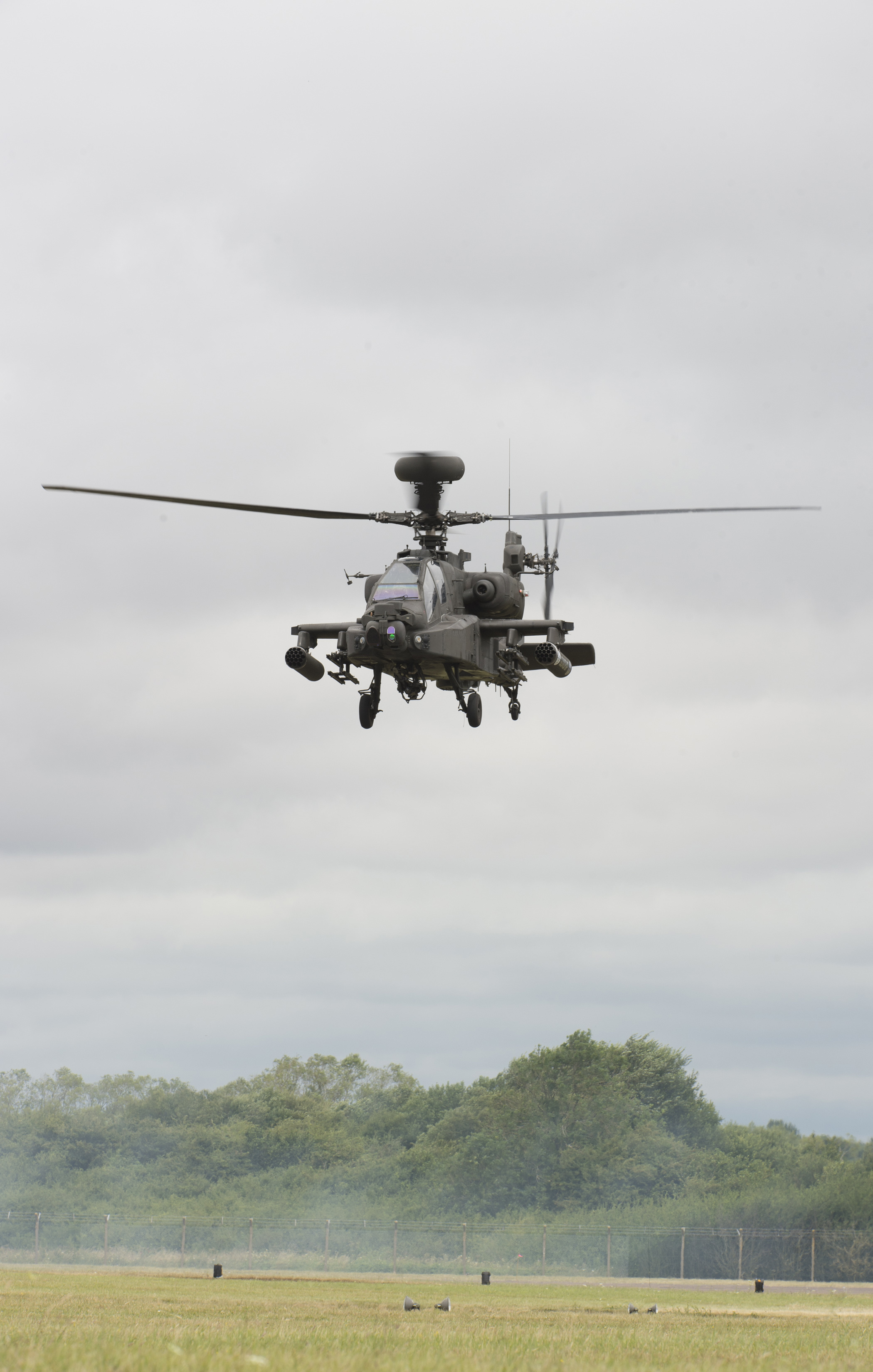 FAIRFORD, United Kingdom – A Royal Air Force Westland WAH-64D Apache helicopter demonstrates its combat capabilities for spectators during the 2017 Royal International Air Tattoo (RIAT) located at RAF Fairford, United Kingdom, on July 16, 2017. This year commemorates the U.S. Air Force's 70th Anniversary which was highlighted during RIAT by displaying its lineage and advancements in military aircraft. (U.S. Air Force Photo by Tech. Sgt. Brian Kimball)