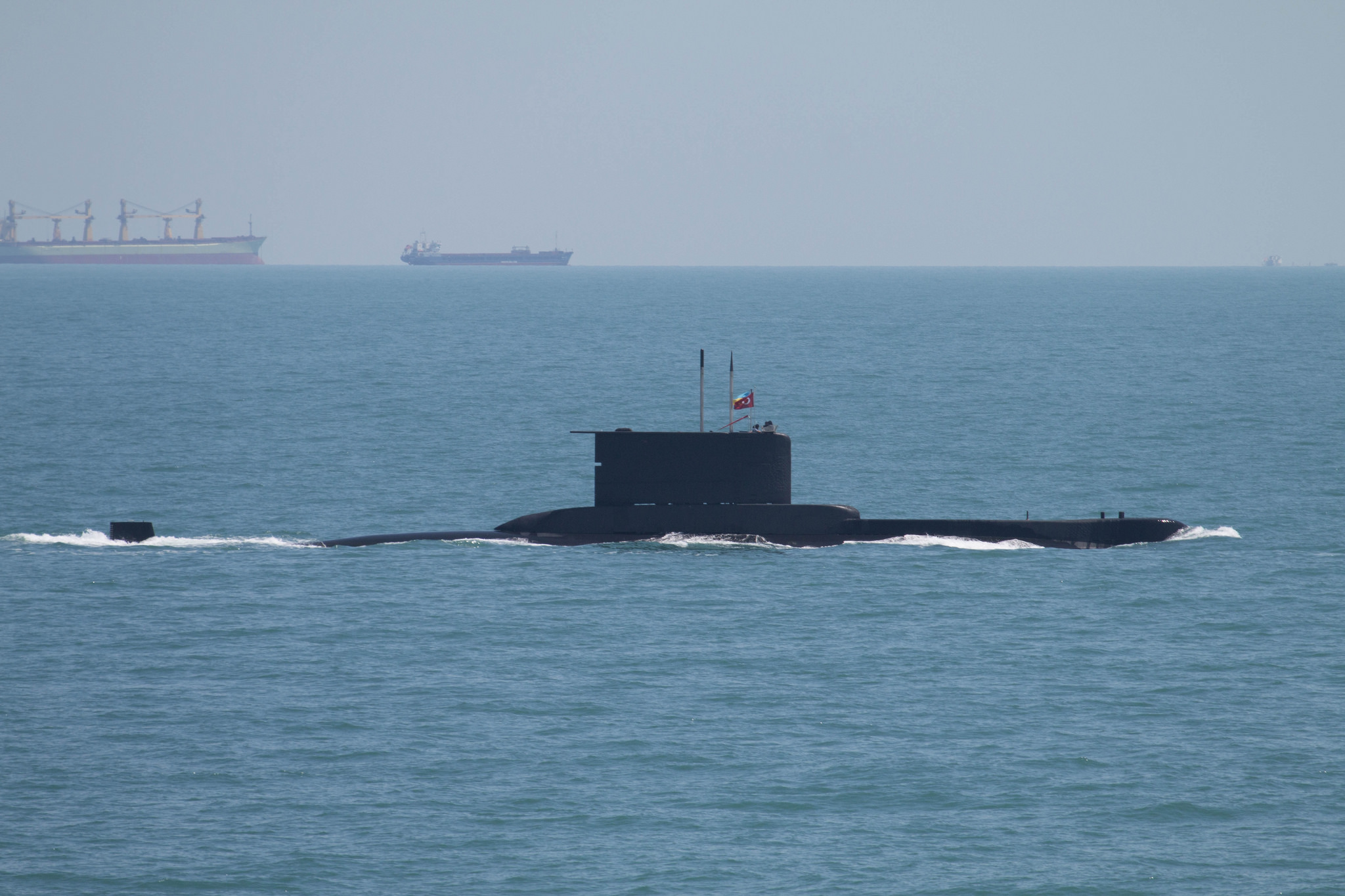 The Turkish Navy submarine TCG Batiray (S 349) departs Odessa, Ukraine, for the second at-sea phase of exercise Sea Breeze 2017 July 18. Sea Breeze is a U.S. and Ukraine co-hosted multi-national maritime exercise held in the Black Sea and is designed to enhance interoperability of participating nations and strengthen maritime security within the region.