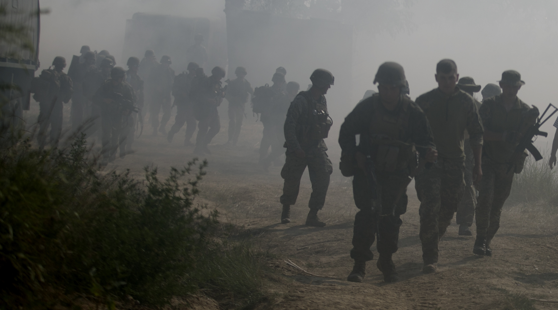 U.S. Marines assigned to U.S. Marine Corps Forces Europe and Africa and Ukrainian marines secure the beach after an amphibious landing in Nikolaev, Ukraine, during exercise Sea Breeze 2017, July 19. Sea Breeze is a U.S. and Ukraine co-hosted multinational maritime exercise held in the Black Sea and is designed to enhance interoperability of participating nations and strengthen maritime security within the region. (U.S. Marine Corps photo by Cpl. Sean J. Berry/Released)