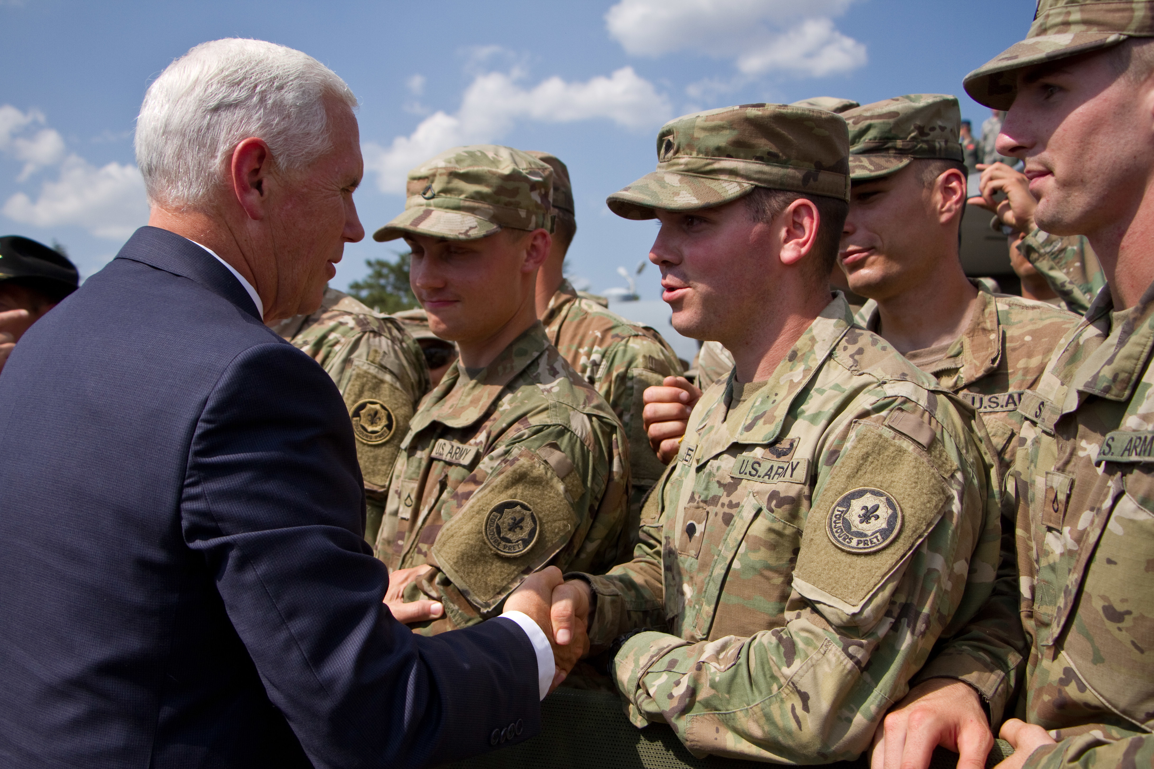 Vice President Mike Pence meets Soldiers assigned to 2d Cavalry Regiment Aug. 1, 2017 in Tbilisi, Georgia during Noble Partner 17. Noble Partner 17 is a U.S. Army Europe-led exercise designed to support the training, progression and eventual certification of Georgia's second light infantry company's contribution to the NATO Response Force. The training will take place at the Vaziani Training Area.