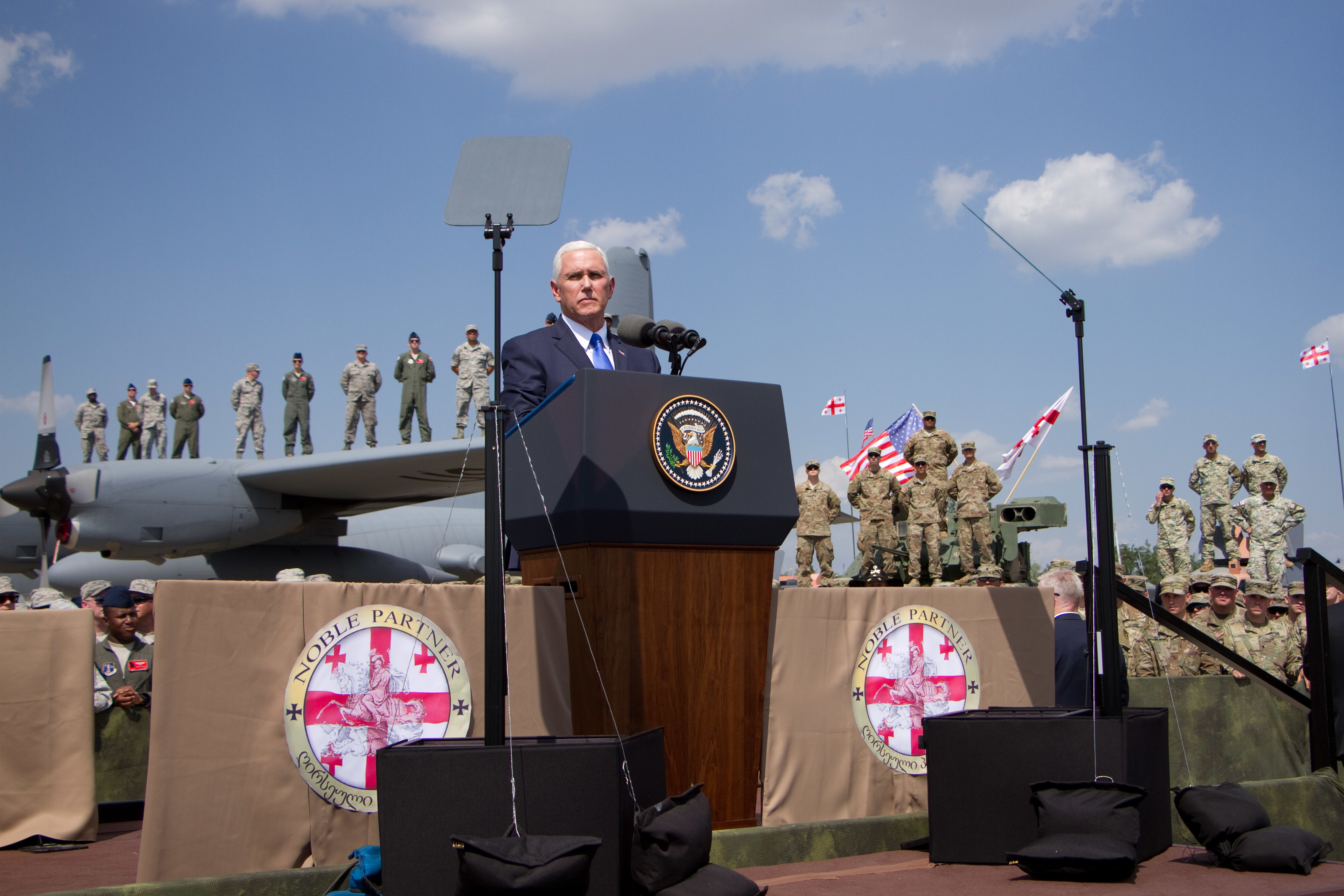Vice President Mike Pence gives speech to U.S. and Georgian Soldiers Aug. 1, 2017 in Tbilisi,  Georgia during Noble Partner 17. Noble Partner 17 is a U.S. Army Europe-led exercise designed to support the training, progression and eventual certification of Georgia's second light infantry company's contribution to the NATO Response Force. The training will take place at the Vaziani Training Area.