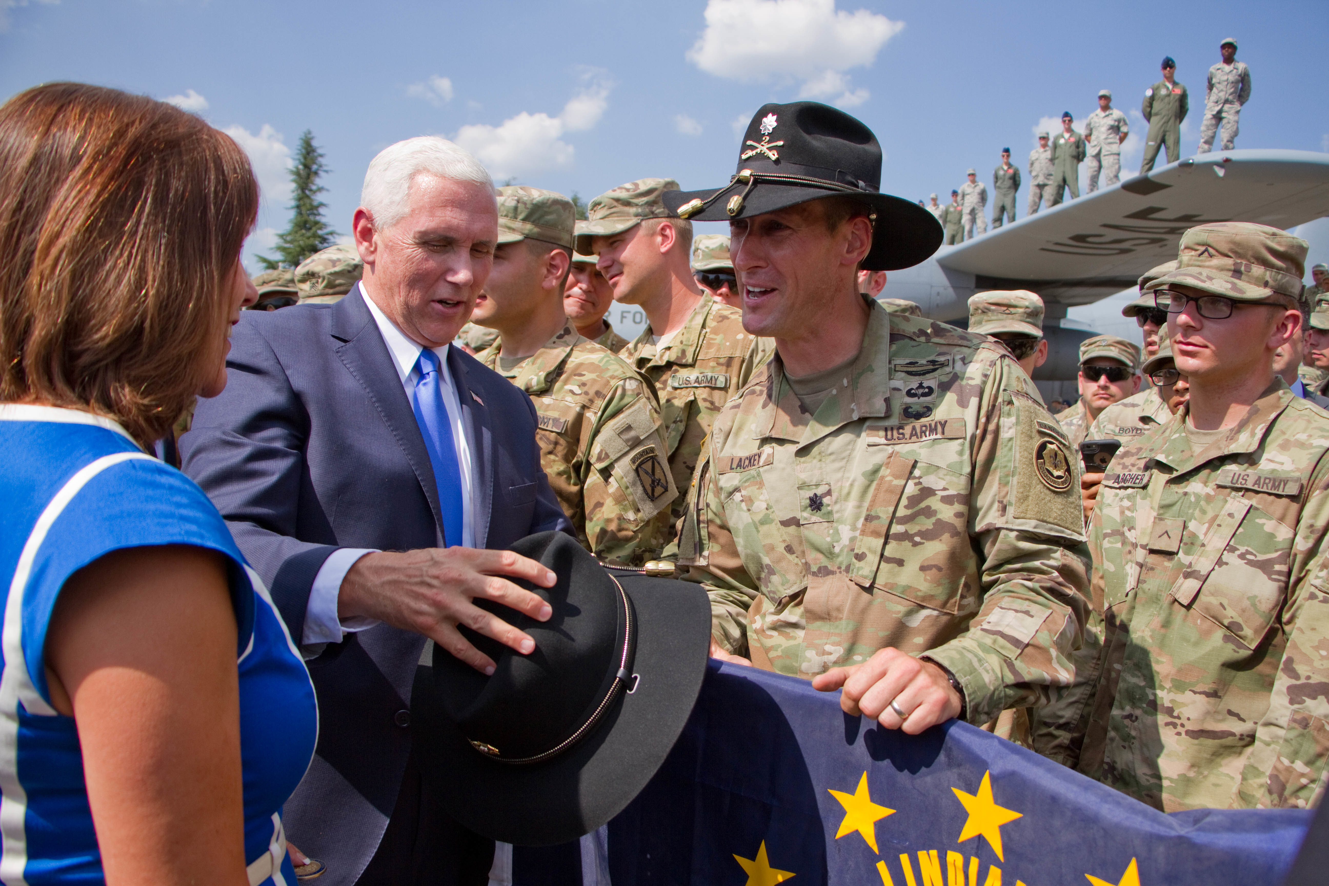 U.S. Vice President Mike Pence received a Cavalry Stetson from Lt. Col. Adam Lackey, commander for 1st Squadron, 2d Cavalry Regiment during a ceremony Aug. 1, 2017 in Tbilisi, Georgia for Noble Partner 17. It is tradition for a cavalry soldier to wear the iconic headgear for ceremonies and special dates. The Squadron is in Georgia for Noble Partner 17, a U.S. Army Europe-led exercise designed to support the training, progression and eventual certification of Georgia's second light infantry company's contribution to the NATO Response Force. The training will take place at the Vaziani Training Area.