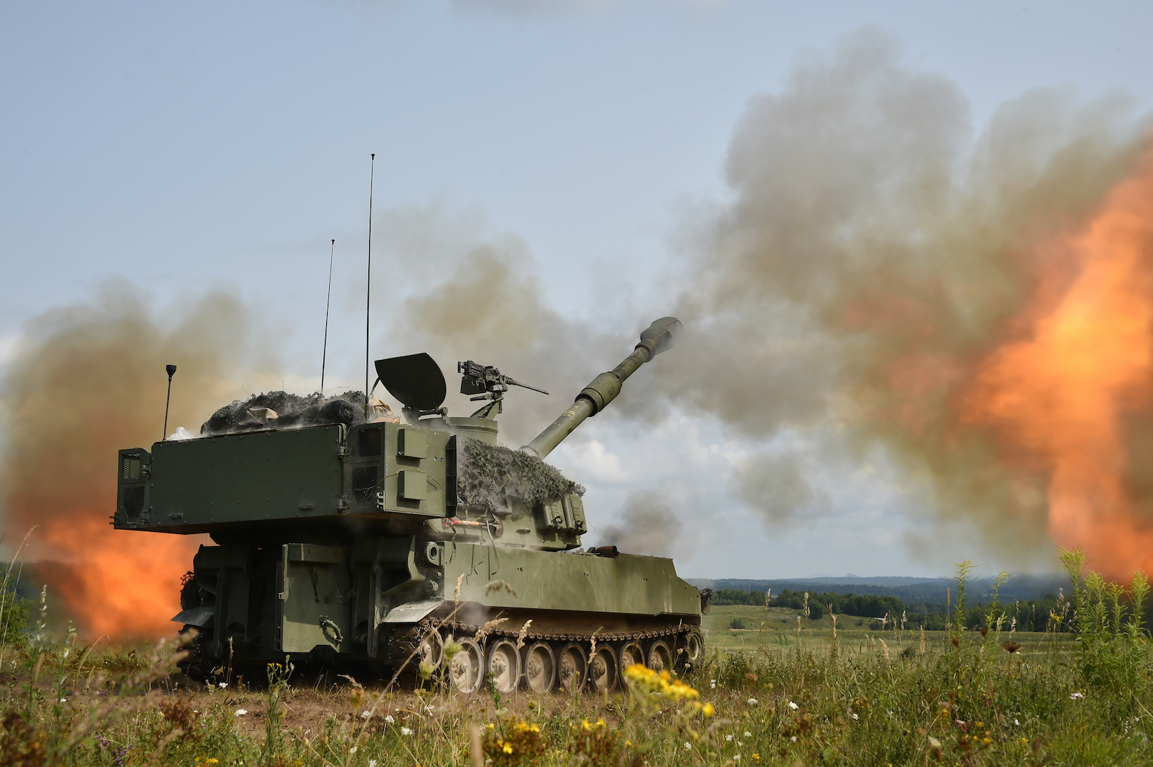U.S. Soldiers with Bravo Battery, 3rd Battalion, 29th Field Artillery Regiment, 3rd Armored Brigade Combat Team, 4th Infantry Division, conduct a Fire Coordination Exercise with M109A6 Paladins at the 7th Army Training Command's Grafenwoehr Training Area, Germany, Aug. 21, 2017. (U.S. Army photo by Visual Information Specialist Gertrud Zach)