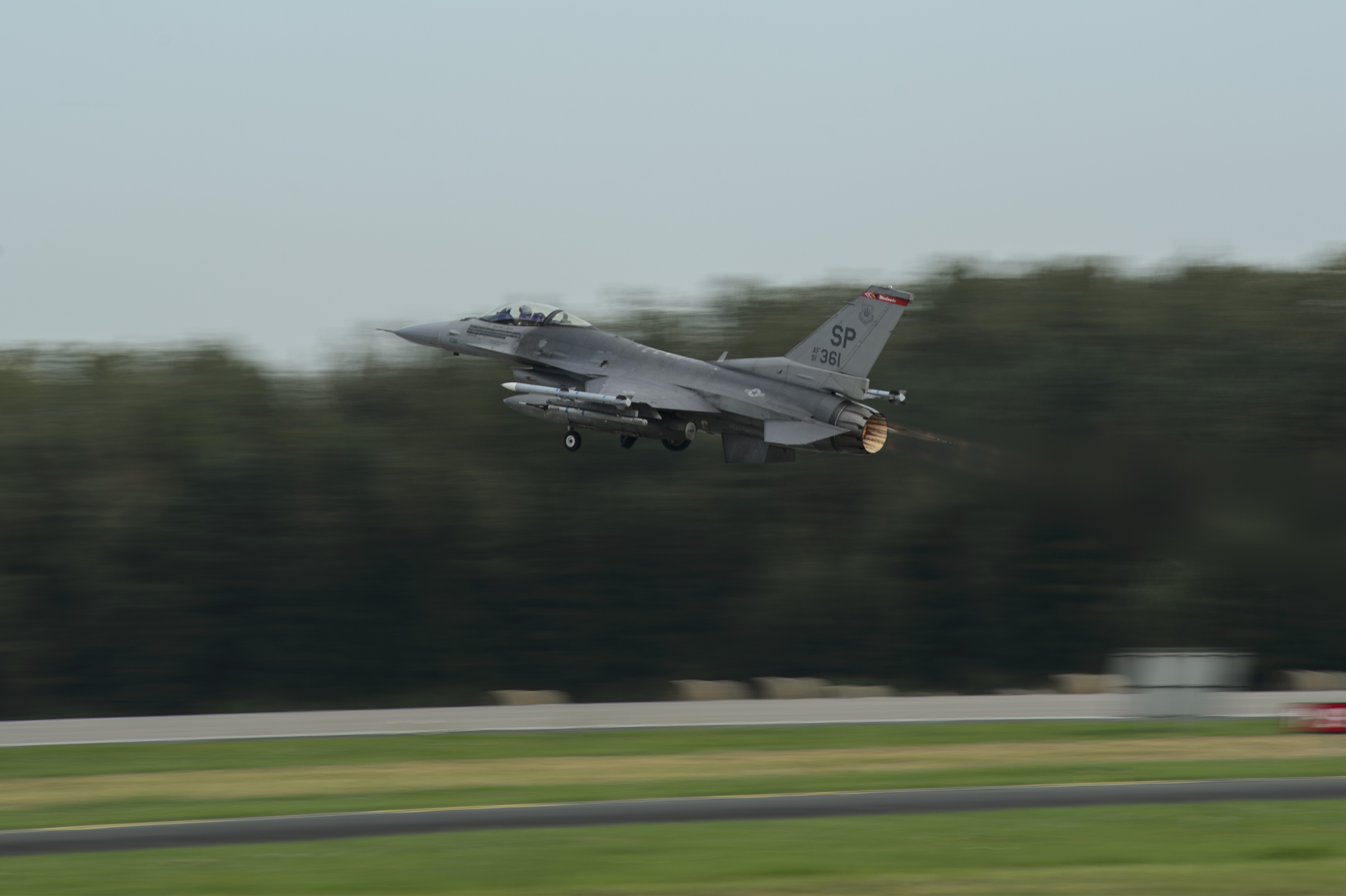 A U.S. Air Force F-16 Fighting Falcon assigned to the 480th Fighter Squadron takes off at Krzesiny Air Base, Poland, Sept. 12, 2017. The 480th FS is participating in bilateral training with the Polish Air Force, hosted by the 52nd Operations Group, Det. 1 in support of Operation Atlantic Resolve. (U.S. Air Force photo by Staff Sgt. Jonathan Snyder)