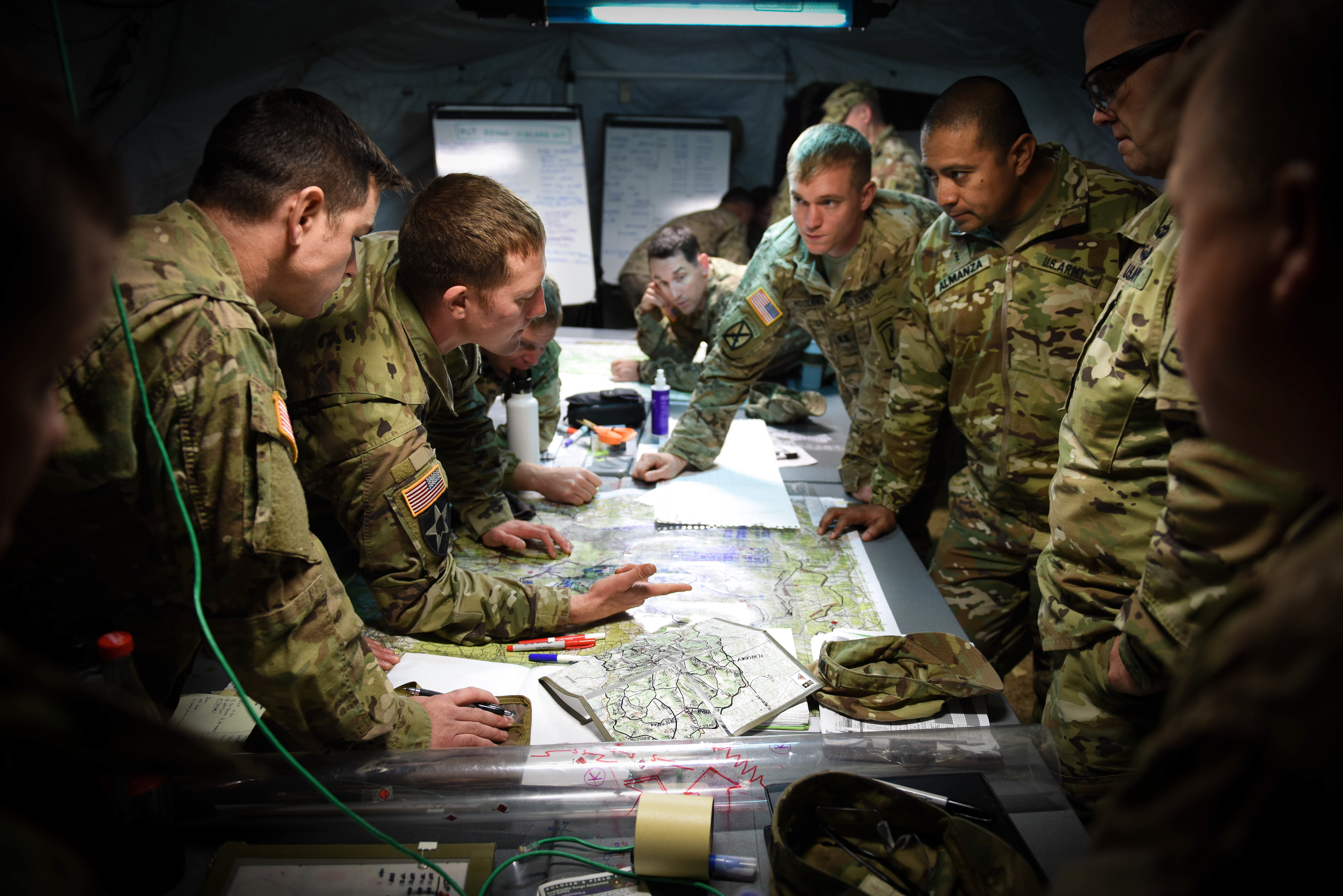 U.S. Army Paratroopers assigned to the 173rd Airborne Brigade plan during exercise Swift Response 17 in Hohenfels, Germany. Swift Response is an annual U.S. Army Europe led exercise focused on allied airborne forces' ability to quickly and effectively respond to crisis situations as an interoperable multi-national team.