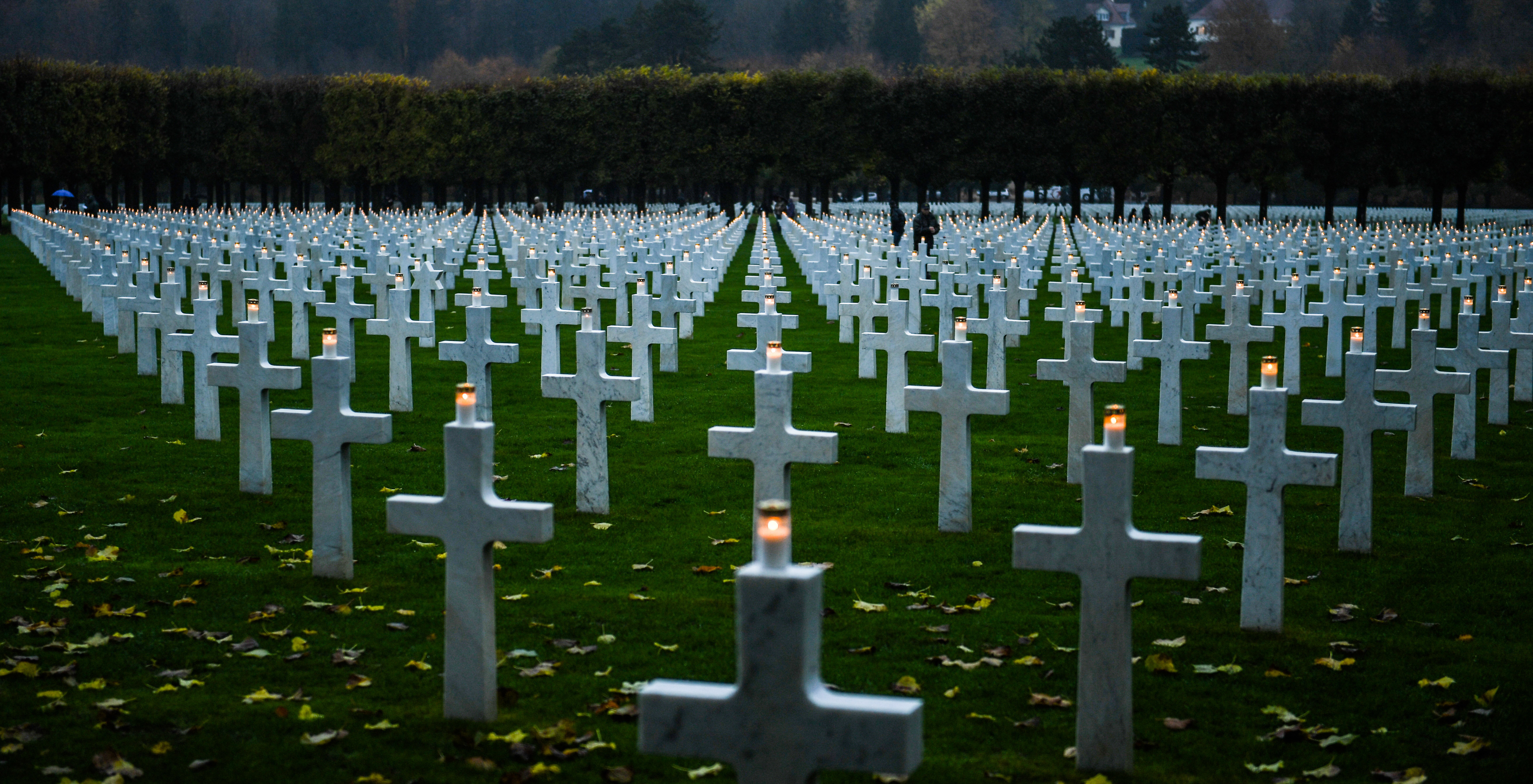A candle is lit, at the Meuse-Argonne American Cemetery and Memorial near the Argonne Forest in France Nov. 11, 2017 – which is Remembrance Day in France. Volunteers worked with quiet reverence for fallen service members from the Meuse-Argonne Offensive in World War I. Overall, 26,000 Americans died in what turned out to be the longest-lasting battle of World War I.
