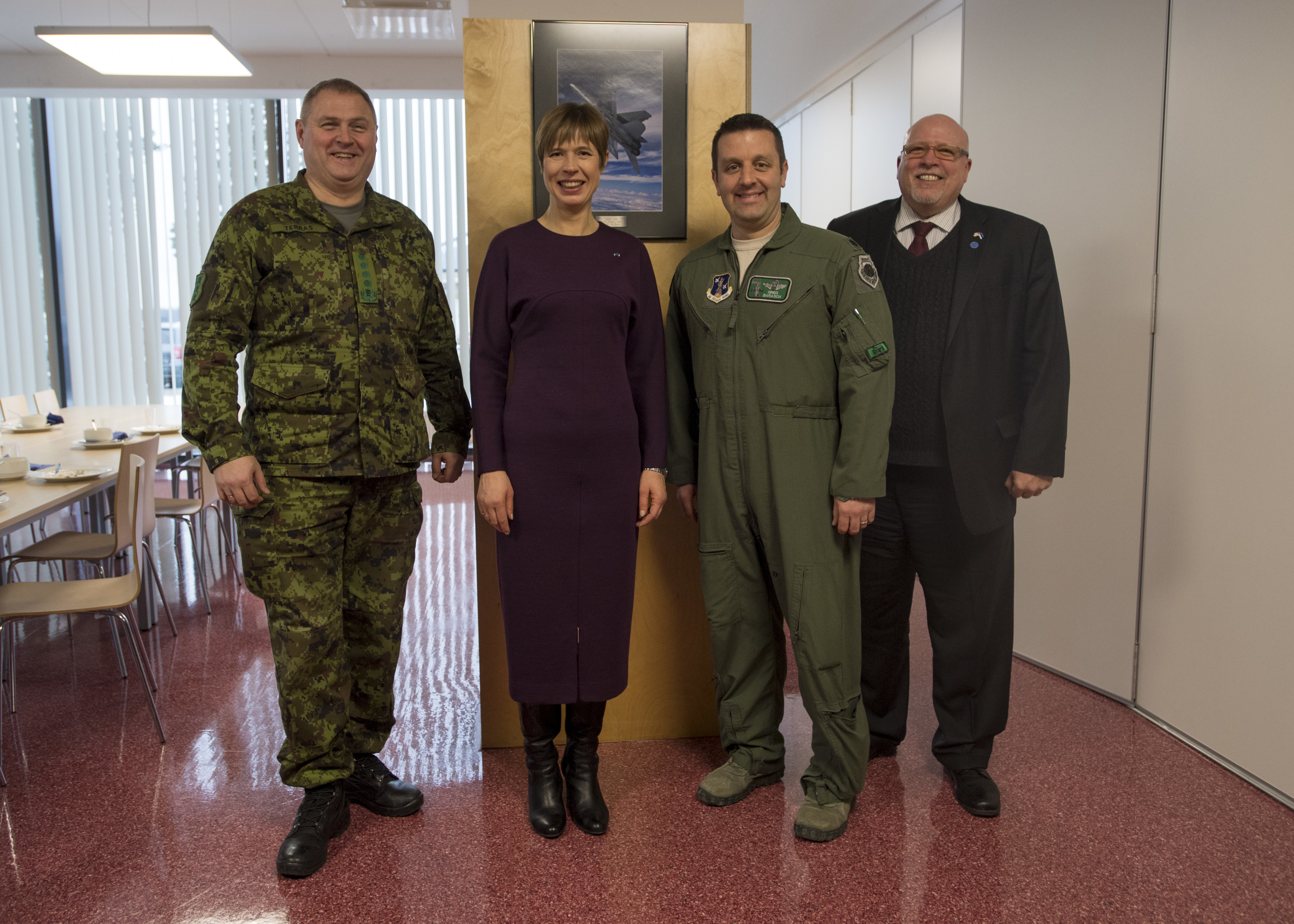 General Riho Terras, commander of the Estonian Defence Forces, H.E. Mrs. Kersti Kaljulaid, President of the Republic of Estonia, Lt. Col. Greg Barasch, 112th Expeditionary Fighter Squadron commander, and Ambassador James D. Melville Jr., U.S. Ambassador to Estonia, pose Jan. 10, 2018 after a luncheon at Amari Air Base, Estonia. They discussed the Ohio Air National Guard's participation in the theater security package, and the strong U.S.-Estonian alliance. (DoD photo by MC3 Cody Hendrix)