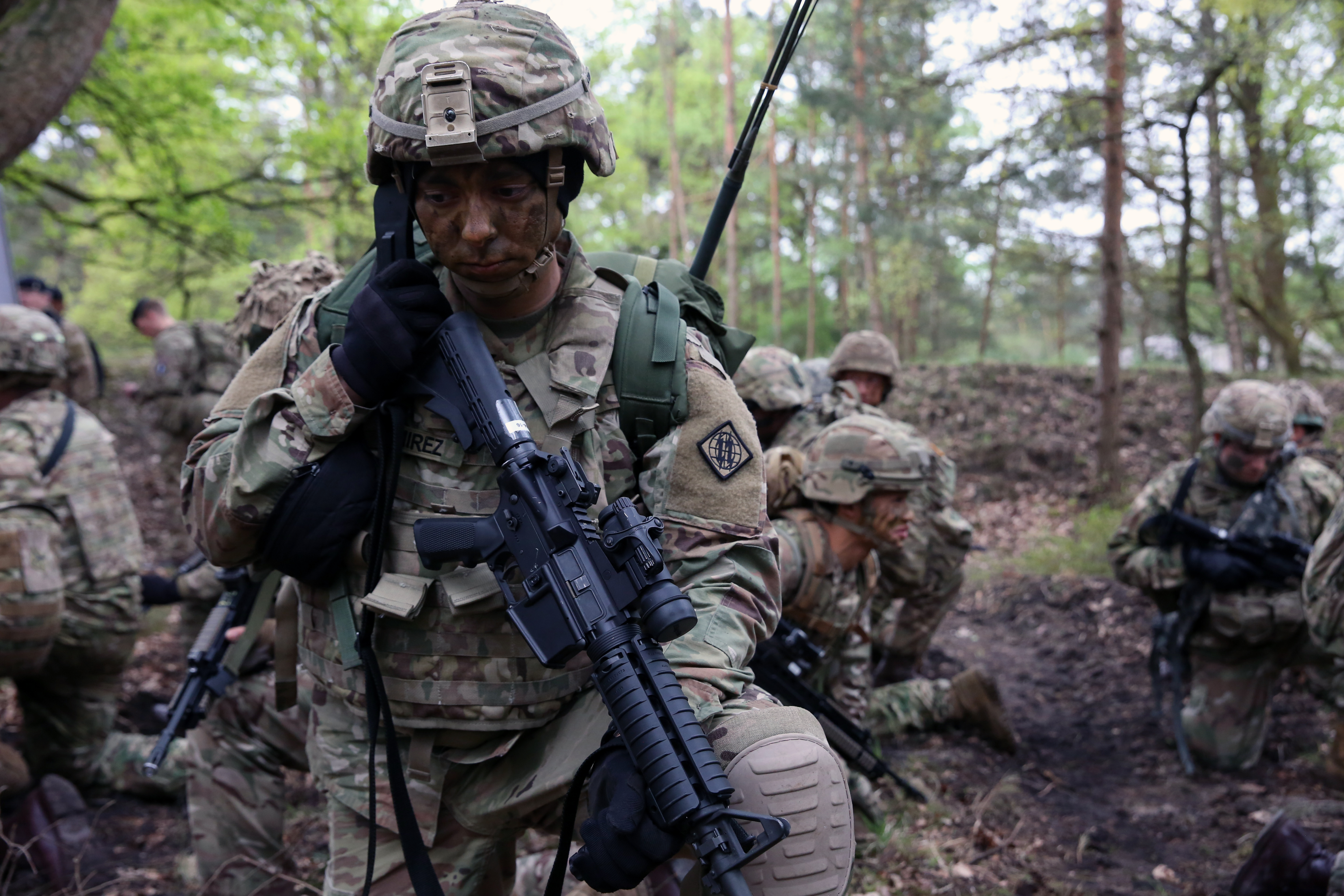 U.S. Army Cpl. Andrew Ramirez, assigned to Bravo Company, 44th Expeditionary Signal Battalion, 2nd Theater Signal Brigade, talks on a radio during during exercise Stoney Run, April 24, 2018 in the Sennelager Training Area, Germany. Stoney Run is an annual U.S.-U.K. signal exercise designed to test and validate communications and network capabilities, and enhance interoperability and partner capacity between the two NATO allies. (U.S. Army photo by William B. King)