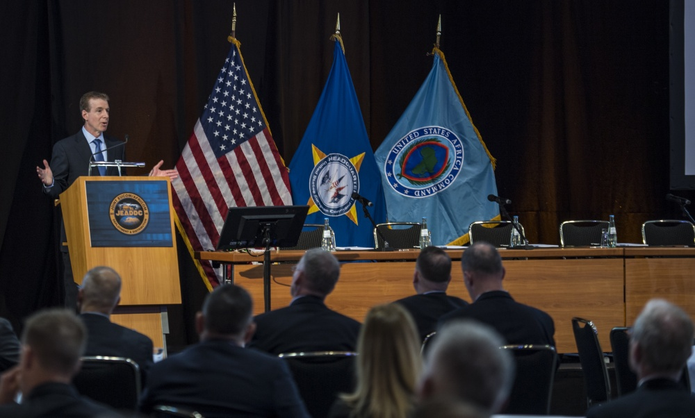 Rear Adm. Paul J. Verrastro, director of logistics, U.S. European Command, speaks to members participating in the Joint EUCOM/U.S. Africa Command Deployment and Distribution Conference at the Maritim Hotel in Stuttgart, Germany. The JEADDC The conference took place May 21–23, with over 200 people in attendance to discuss the importance of logistics within their respective theaters.