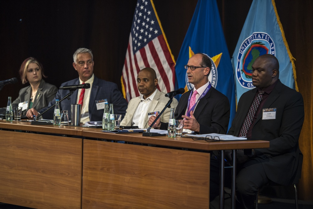 The U.S. European command state of the theater panel speak to attendees of the Joint EUCOM/U.S. Africa Command Deployment and Distribution Conference at the Maritim Hotel in Stuttgart, Germany. The JEADDC took place May 21–23, with over 200 people in attendance to discuss the importance of logistics within their respective theaters.