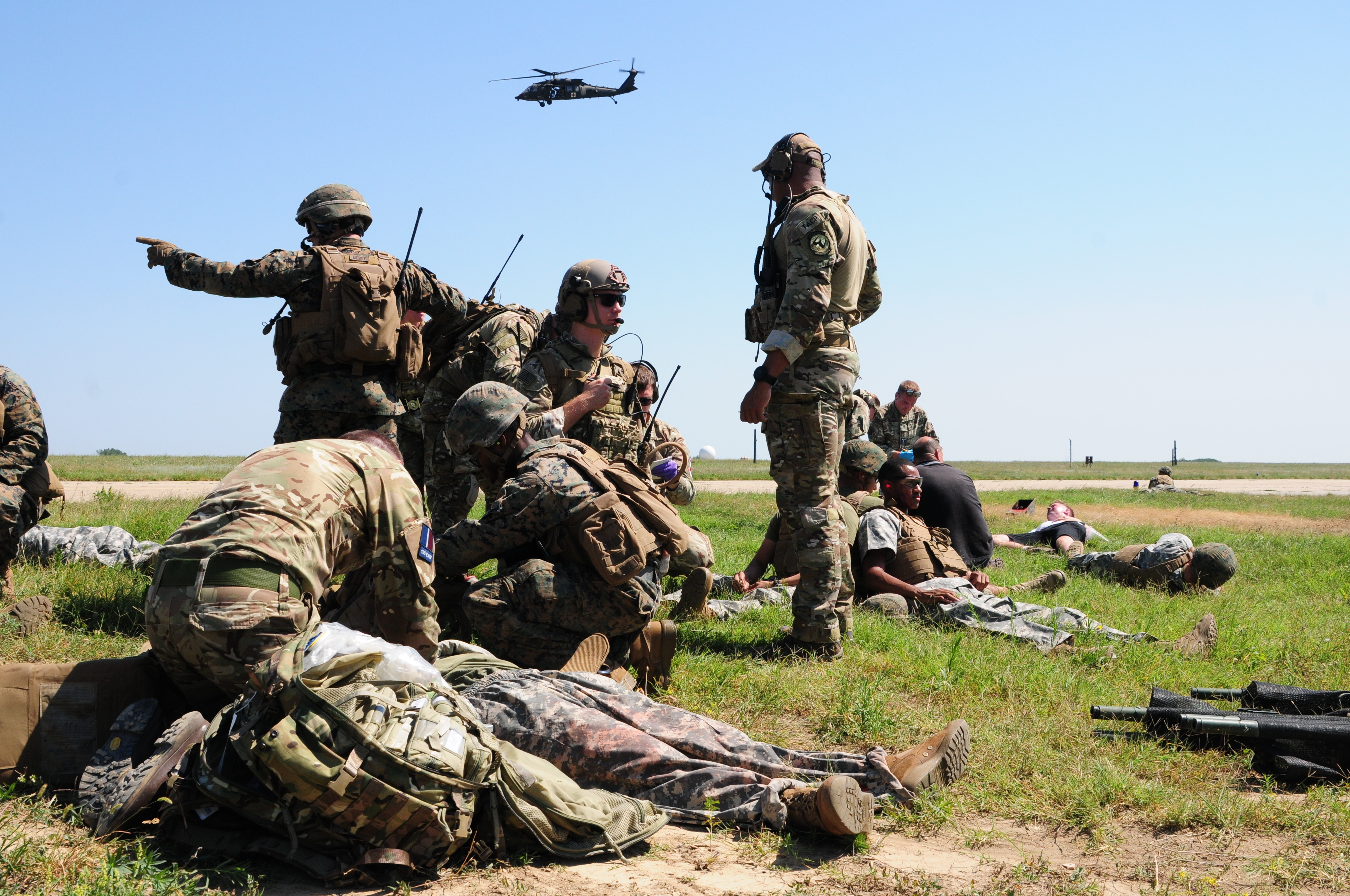The U.S. Air Force, U.S. Marine Corps and British soldiers conduct Exercise Black Lion and Caduceus in support of Atlantic Resolve, an enduring training exercise between NATO and U.S. Forces at Mihail Kogalniceanu Air Base in Romania, August 16, 2018. U.S. and NATO forces worked together as a cohesive unit to execute a downed aircraft search and rescue mission.