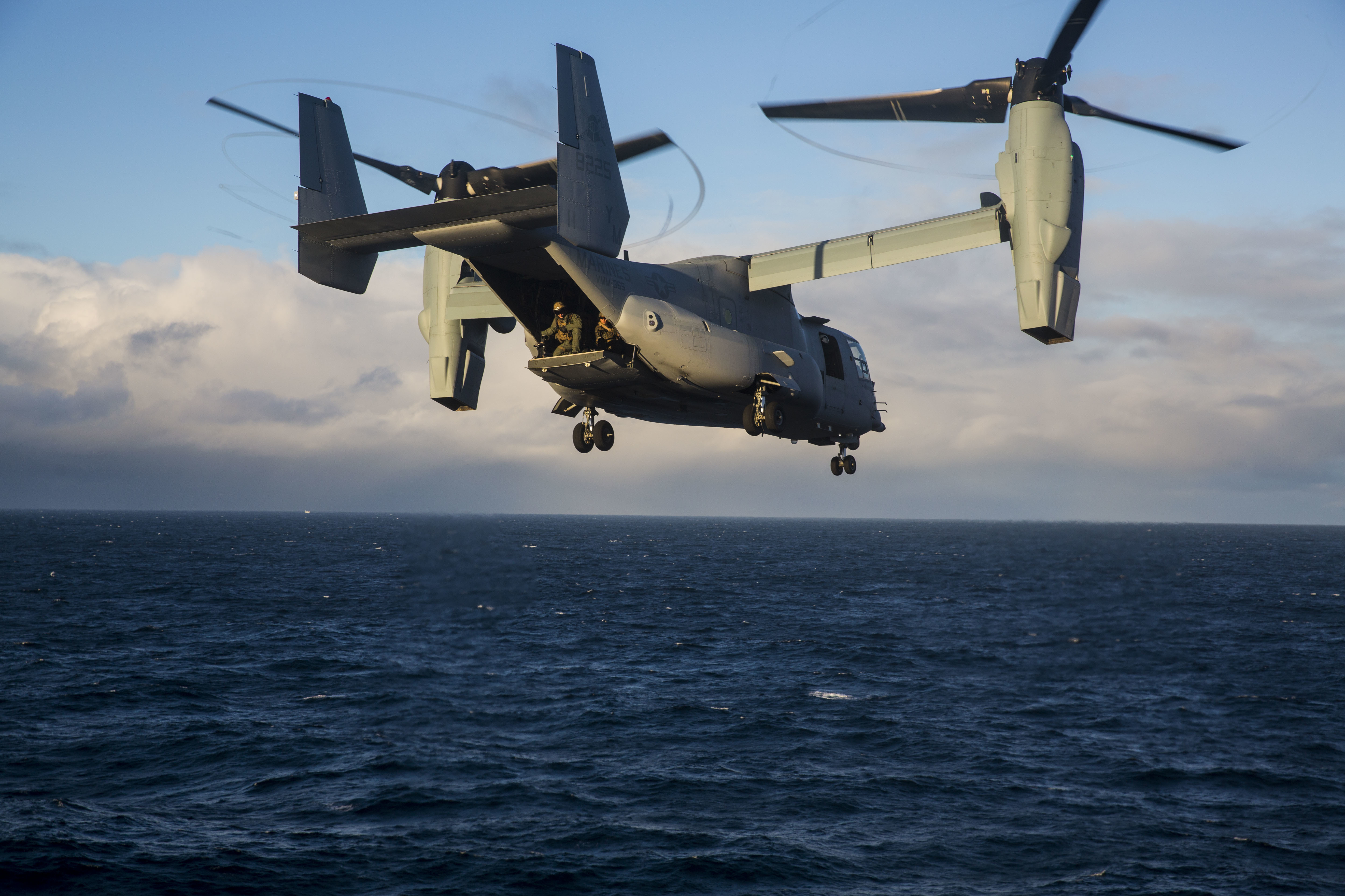 A V-22 Osprey departs from USS Iwo Jima (LHD 7) while conducting an air assault in Icelandic terrain Oct. 17. Iceland's unique terrain and climate allows for Marines to be better prepared and rapidly deploy in support of NATO Allies and partners. (U.S. Marine Corps photo by Lance Cpl. Margaret Gale)