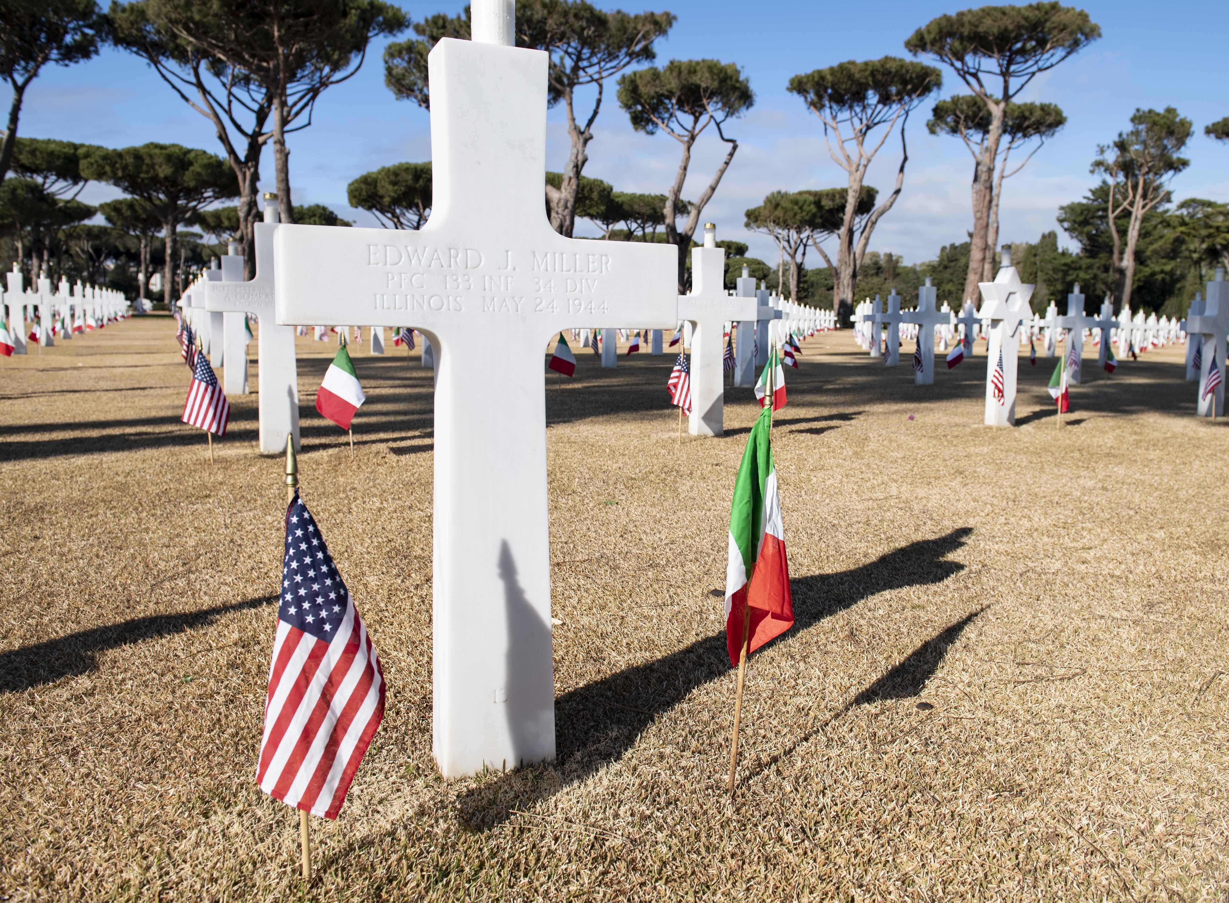 NETTUNO, Italy (Jan. 22, 2019) A headstone at Anzio and Nettuno at the Sicily-Rome American Cemetery in Nettuno, Italy during a ceremony commemorating the 75th Anniversary of Allied Landings at Anzio and Nettuno, Jan. 22, 2019. The ceremony marks the beginning of a year of scheduled events to commemorate the 75th anniversary of WWII. (U.S. Navy photo by Mass Communication Specialist 2nd Class Deanna C. Gonzales/Released)